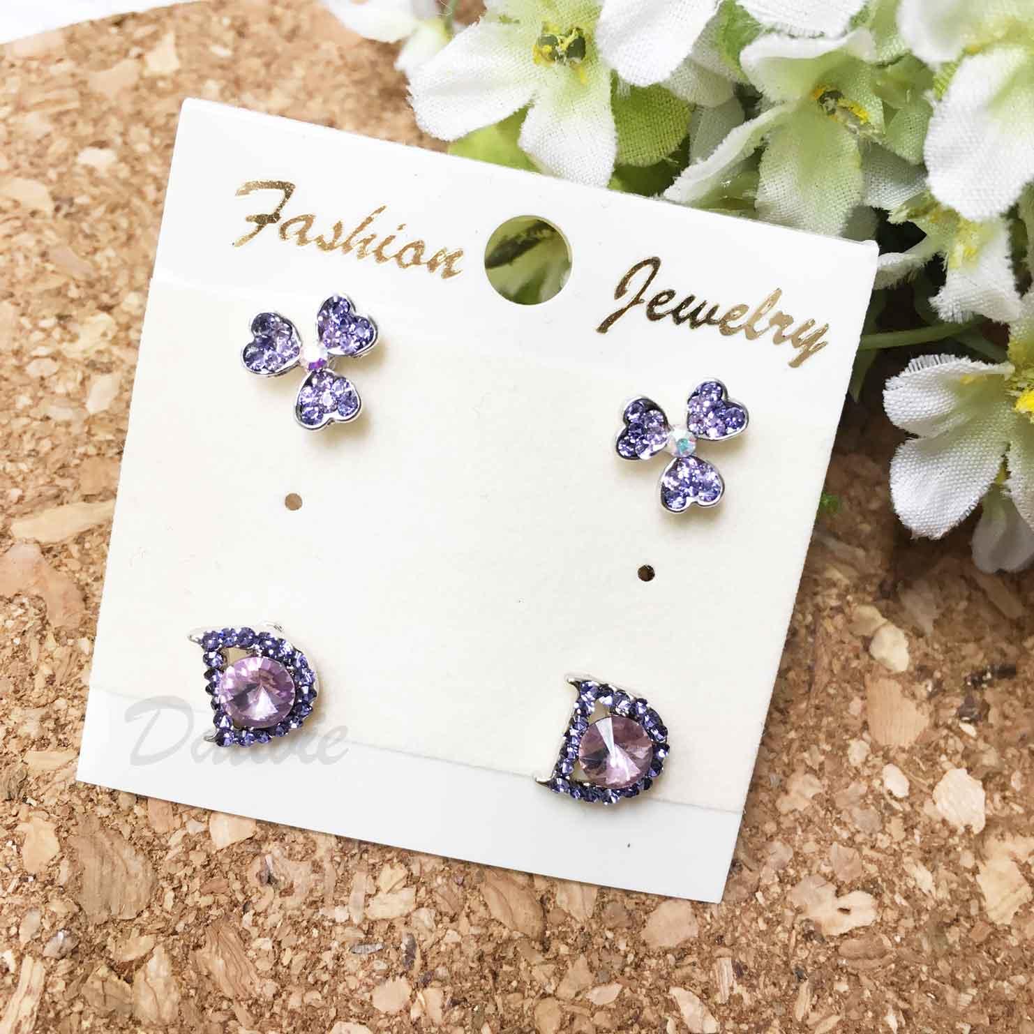 花朵 三葉草 英文D字母 紫水鑽 耳針式 一卡四入 一卡多入耳環