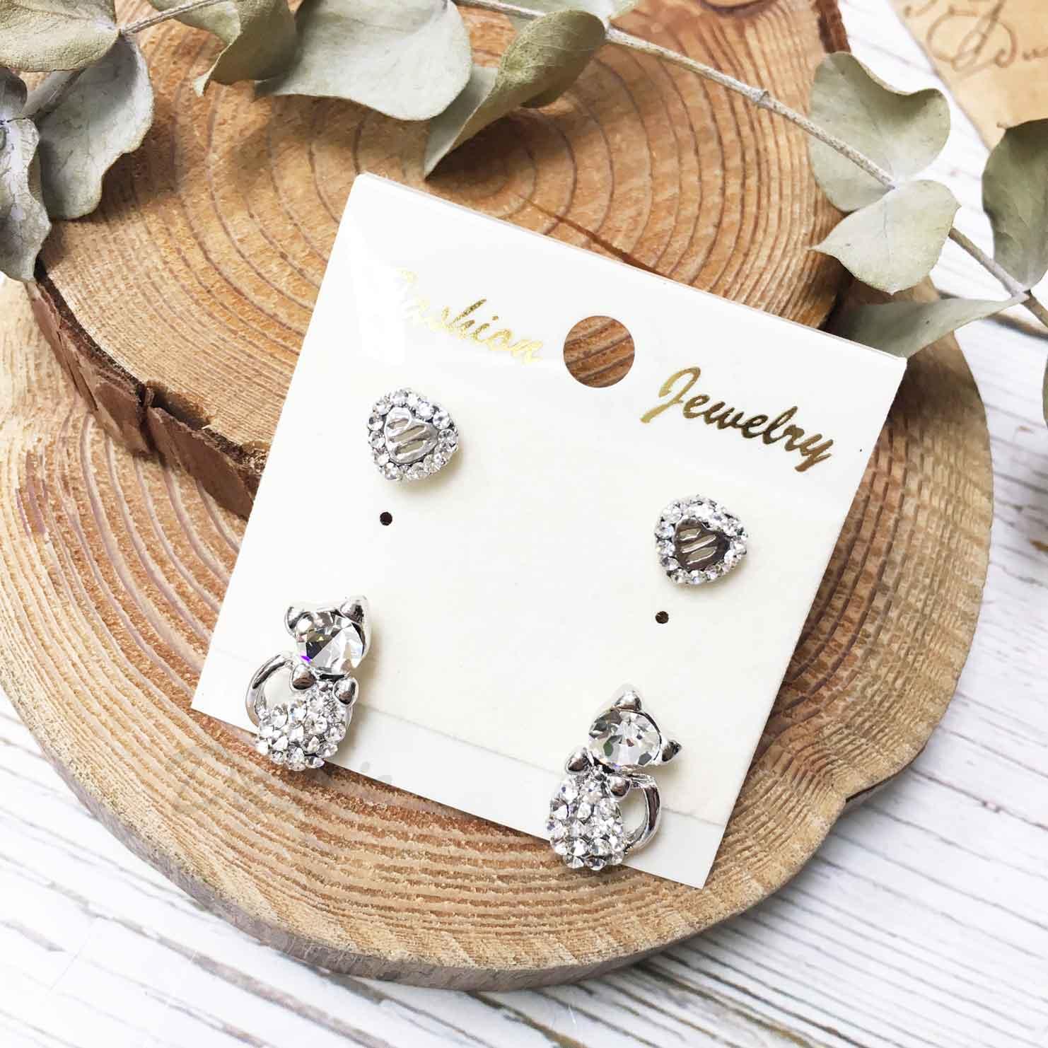 貓咪 水鑽 白鑽 愛心 鏤空 耳針式 一卡四入 一卡多入耳環