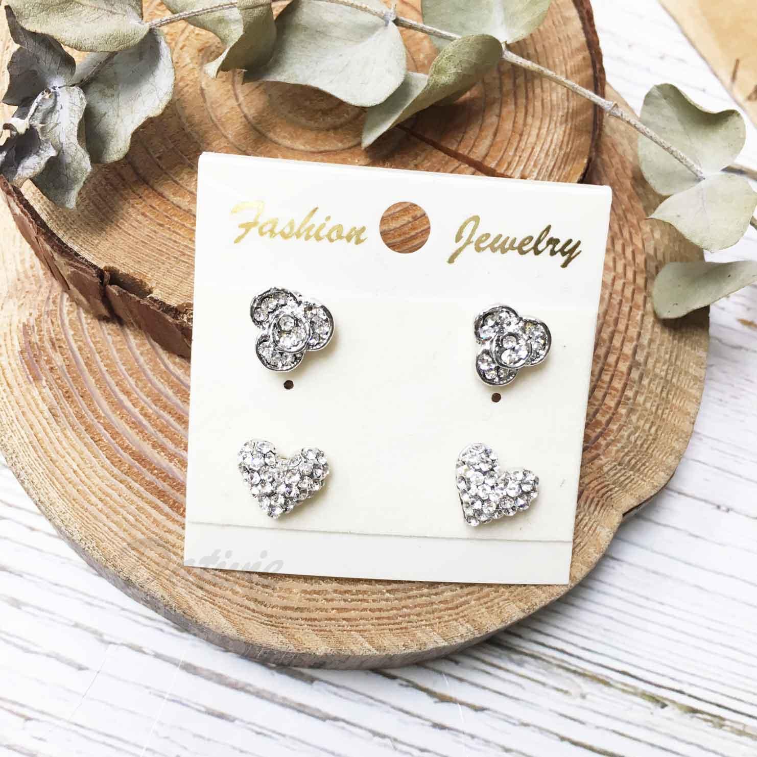 愛心 花朵 花花 水鑽 白鑽 耳針式 一卡四入 一卡多入耳環
