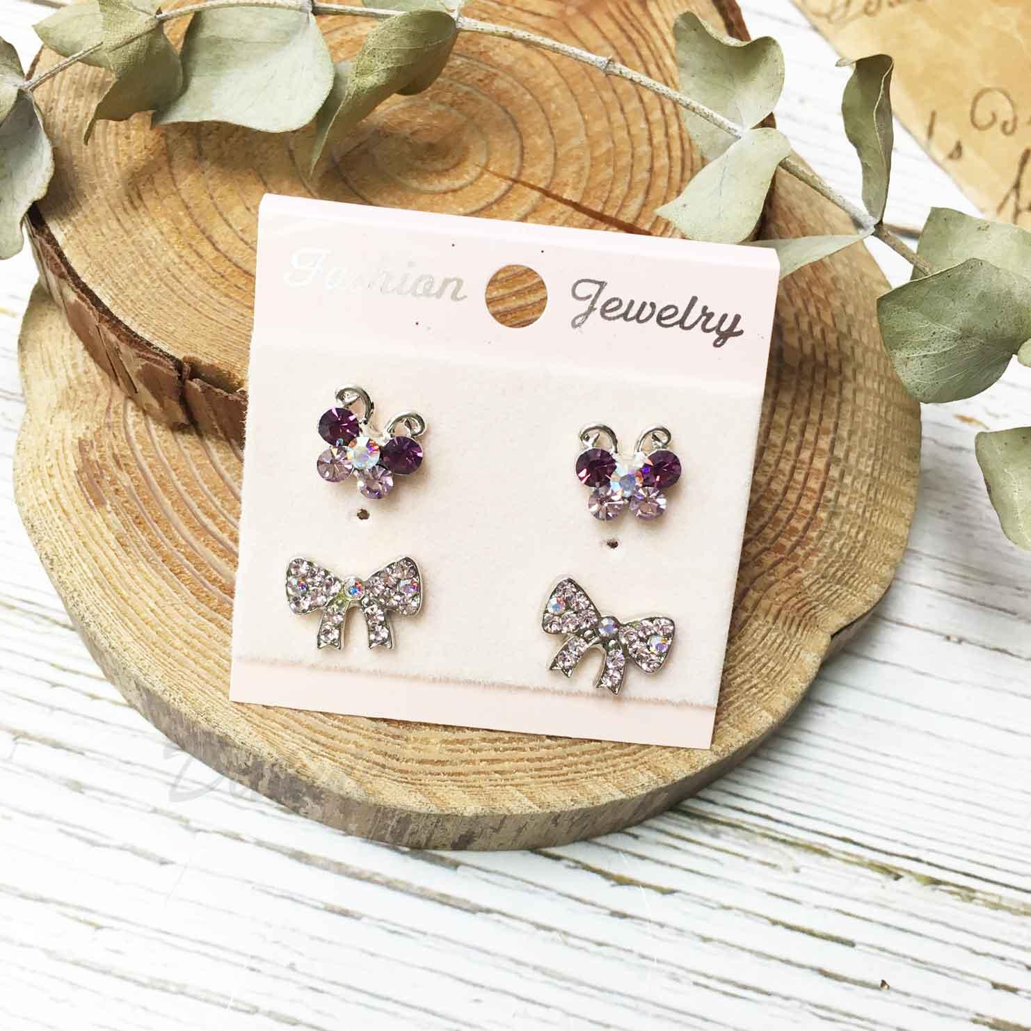 蝴蝶 蝴蝶結 紫色水鑽 耳針式 一卡四入 一卡多入耳環