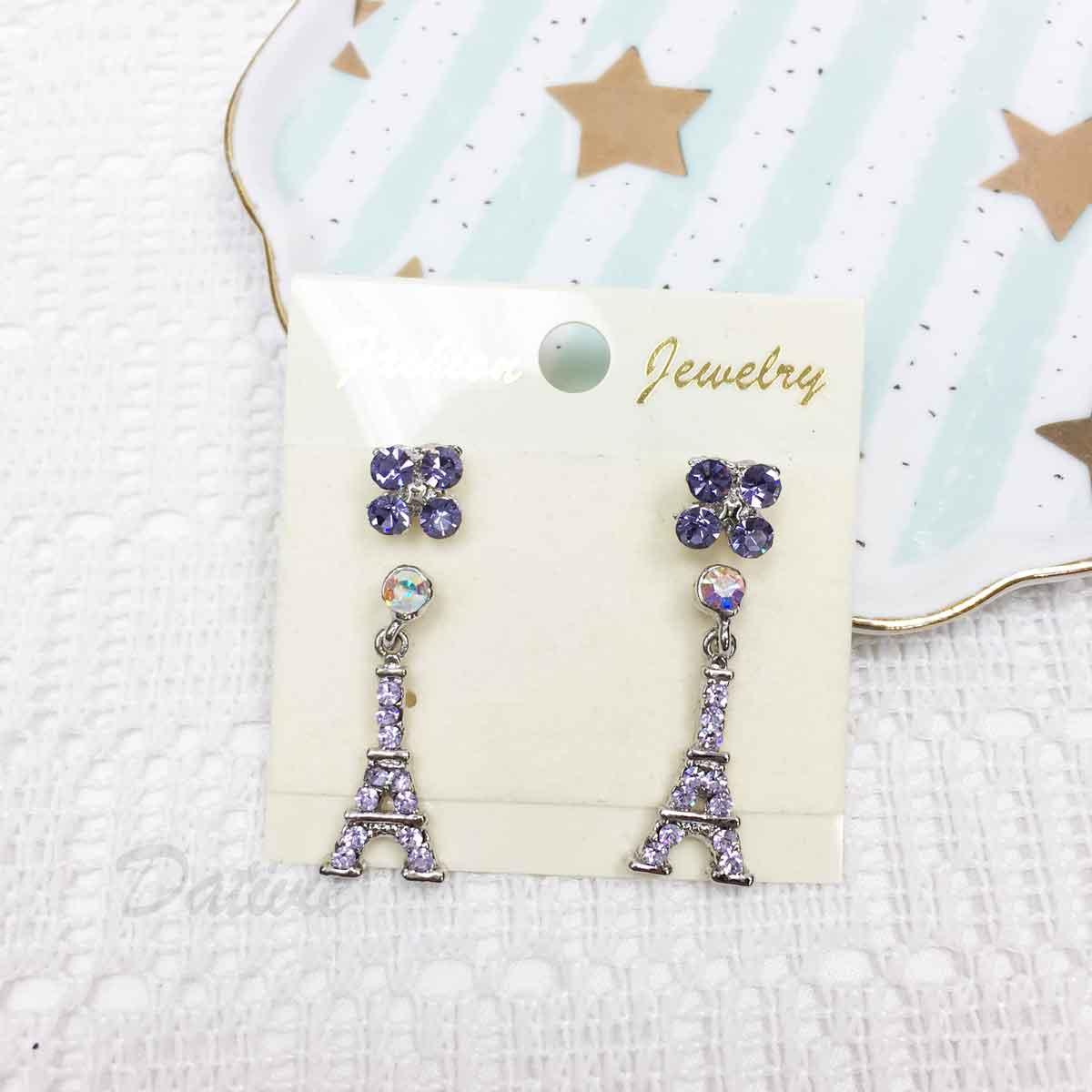 巴黎鐵塔 垂墜 花朵 紫色水鑽 耳針式 一卡四入 一卡多入耳環