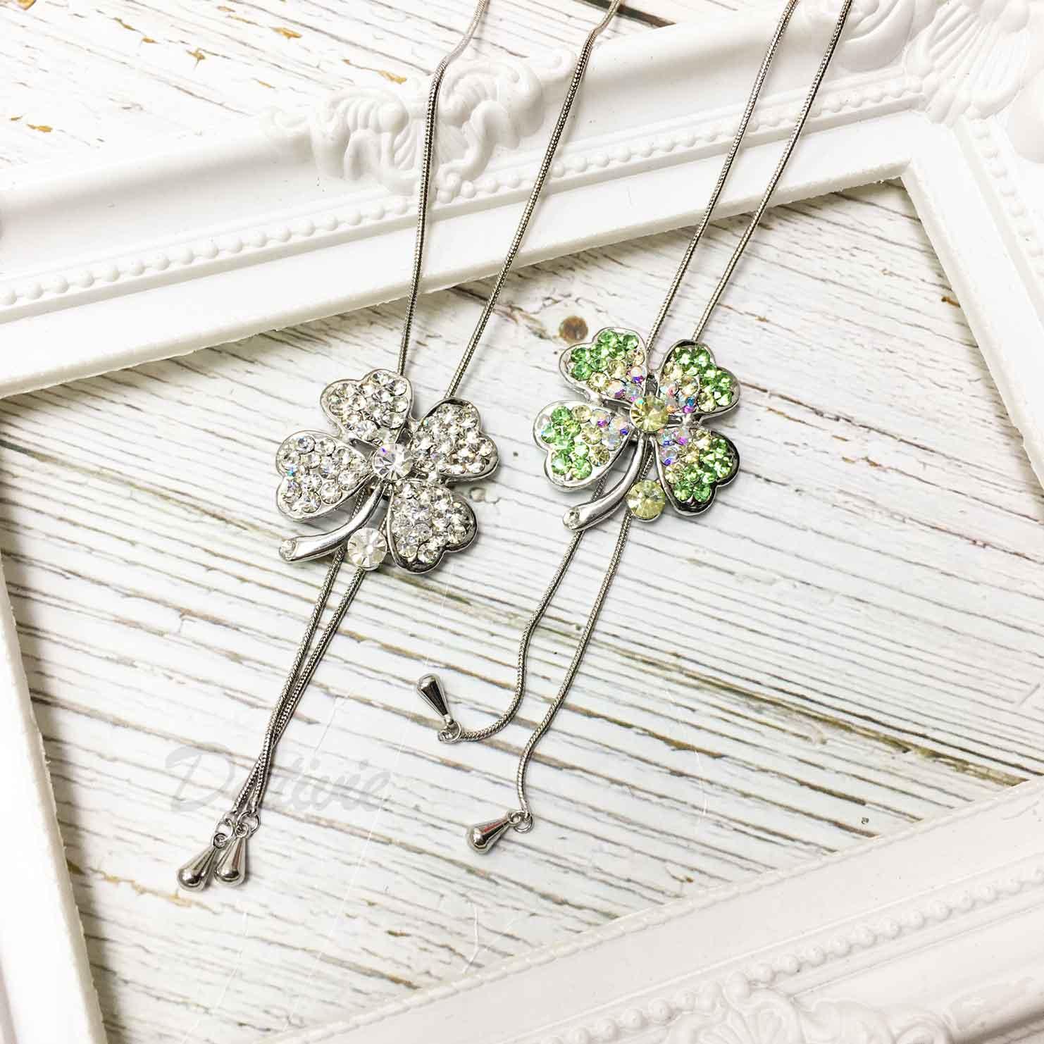 幸運草 四葉草 葉子 彩色水鑽 飾品可調 伸縮項鍊