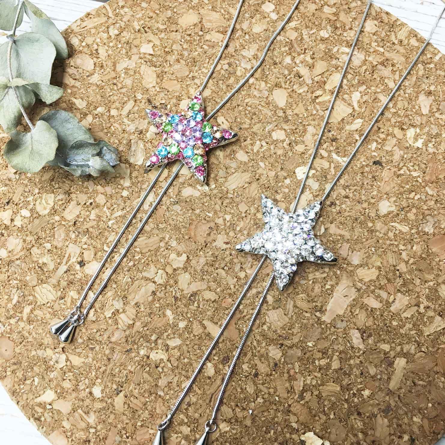 星星 彩色水鑽 白鑽 飾品可調 伸縮項鍊