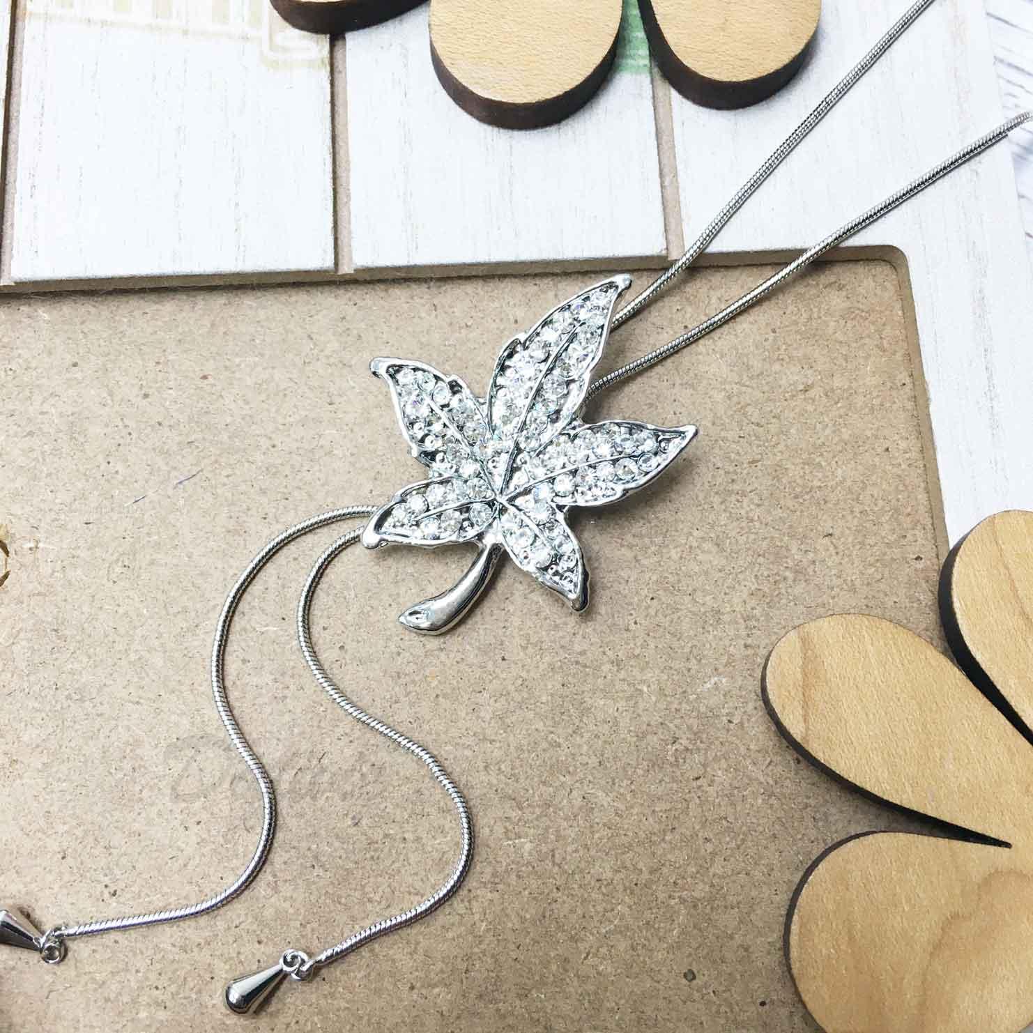 葉子 楓葉 水鑽 白鑽 飾品可調 伸縮項鍊