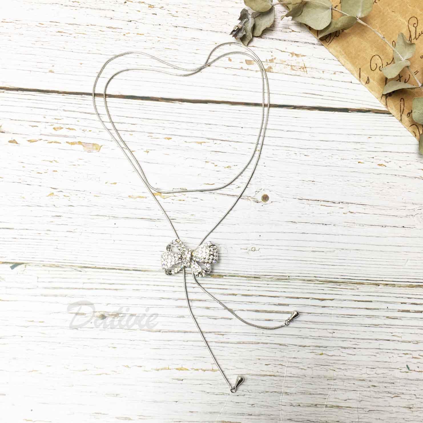 蝴蝶結 緞帶 水鑽 白鑽 飾品可調 伸縮項鍊
