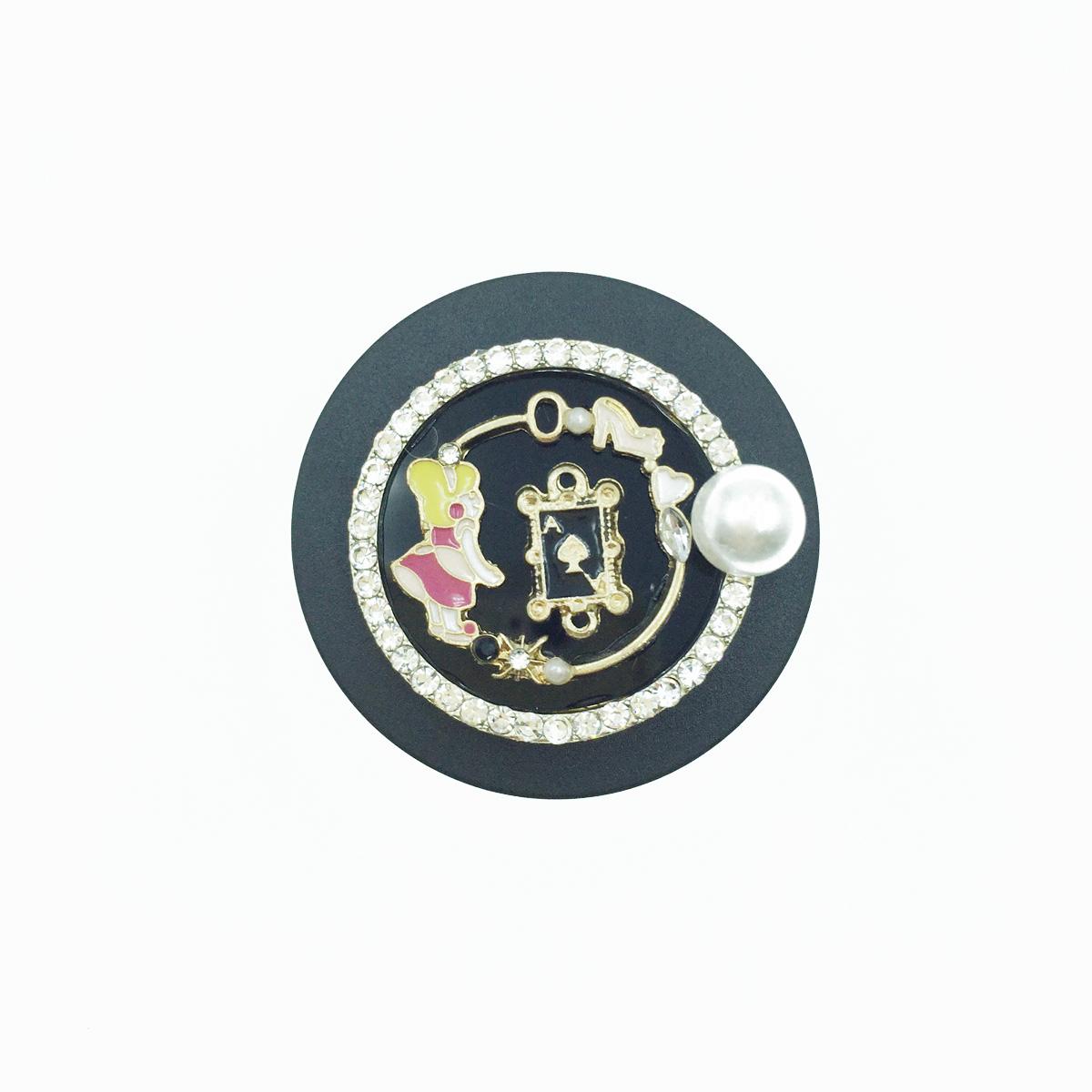 韓國 撲克牌 黑桃A 水鑽 珍珠 小女孩 手機氣墊支架