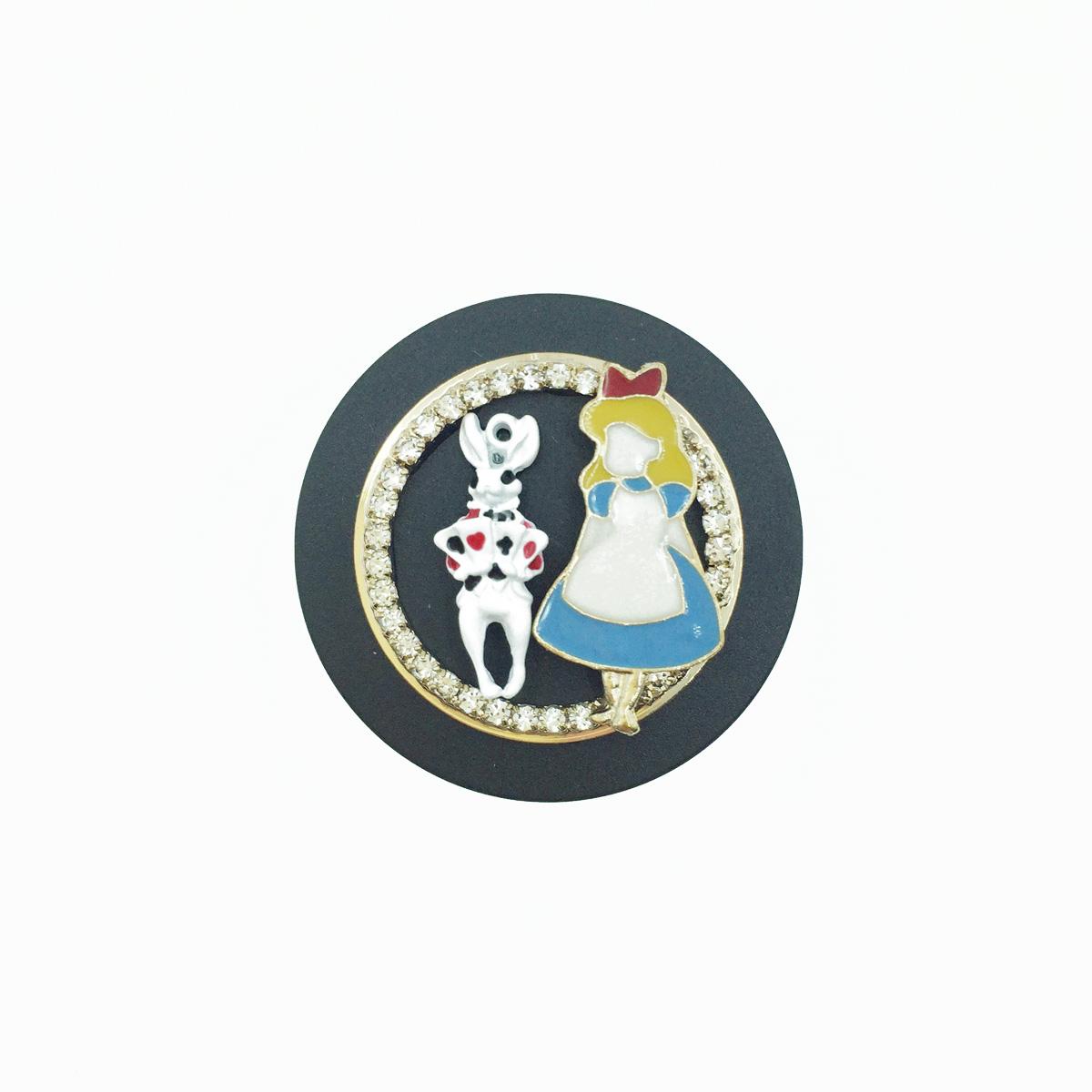 韓國 愛麗絲 Alice 夢遊仙境 撲克兔 水鑽 金邊 可愛 手機氣墊支架