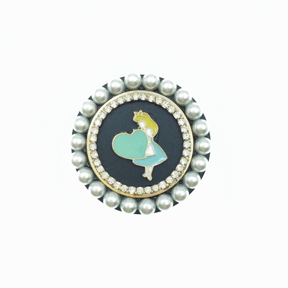 韓國 愛麗絲 Alice 藍綠色愛心 珍珠 水鑽 金邊 手機氣墊支架