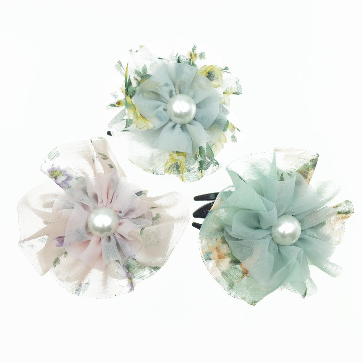 韓國 大花朵 珍珠 絲質 透光 氣質 燕尾夾