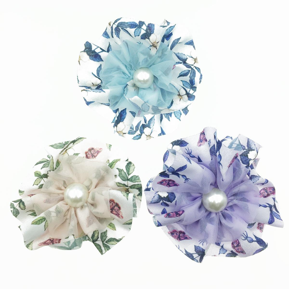 韓國 大花朵 花紋 珍珠 絲質 透光 氣質 燕尾夾
