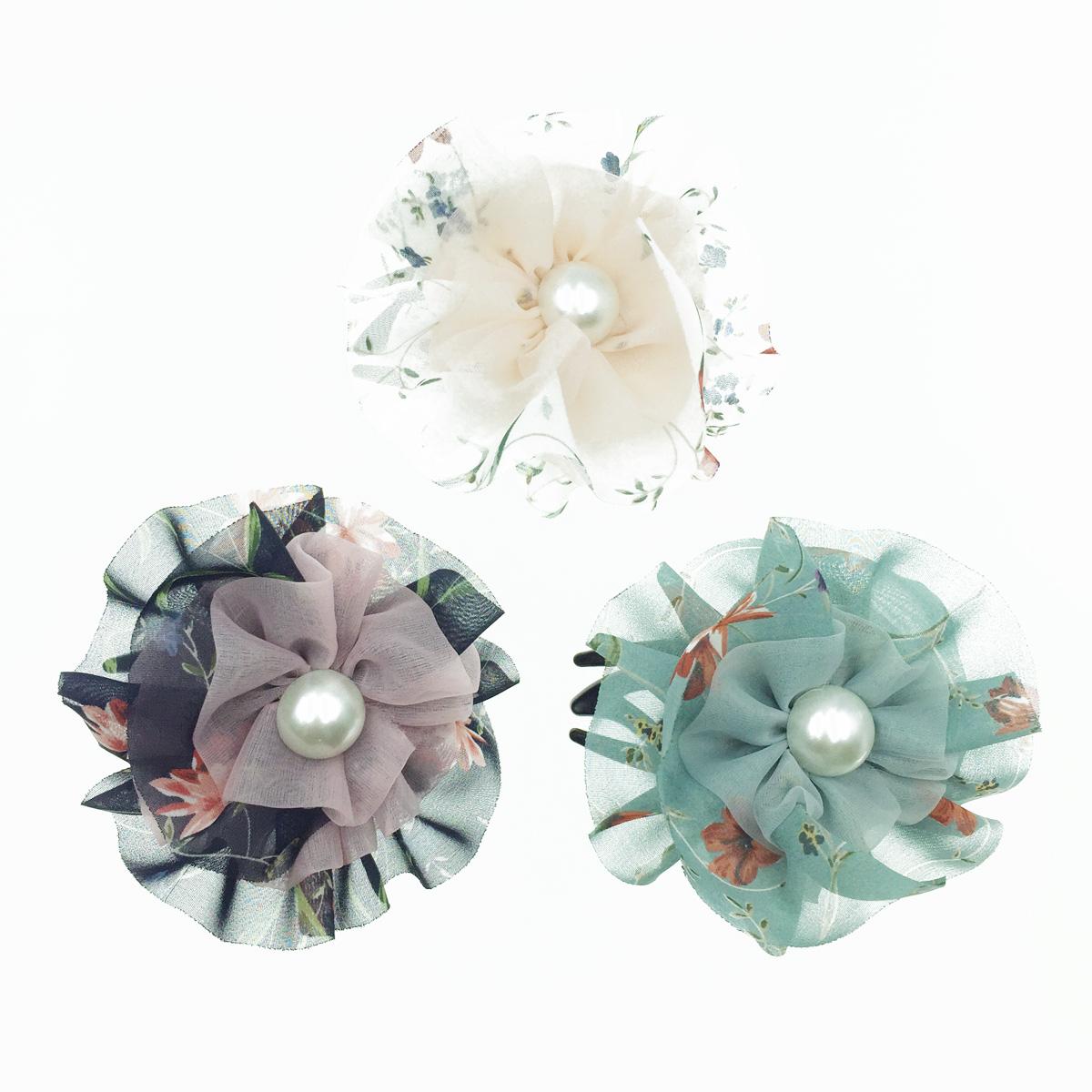 韓國 花朵 碎花 珍珠 絲質 透光 氣質 燕尾夾