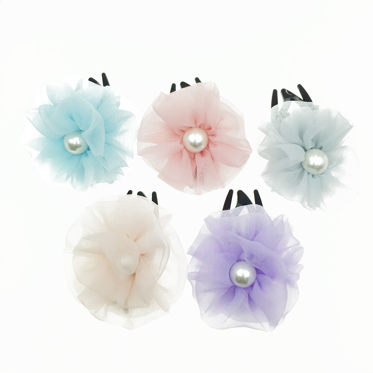 韓國 花朵 簡約 素色 絲質 透光 氣質 燕尾夾
