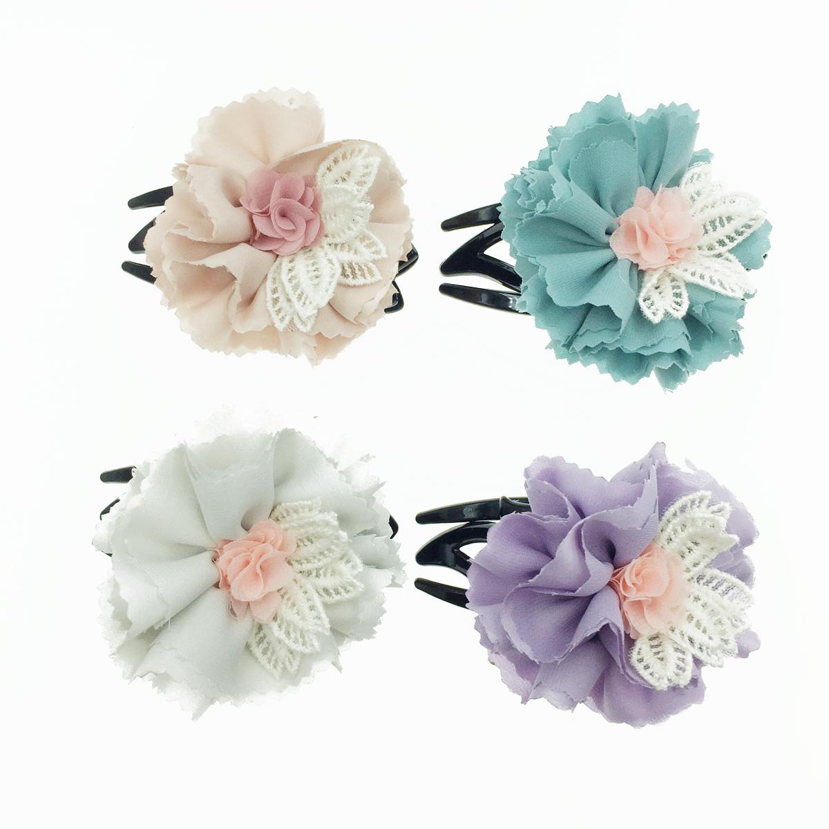 韓國 花朵 刺繡 花瓣 絲質 氣質  燕尾夾