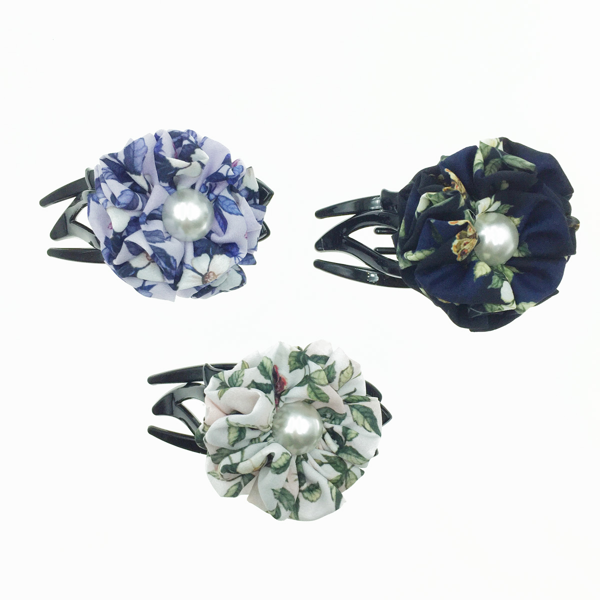 韓國 花朵 絲質 珍珠 碎花 氣質 燕尾夾