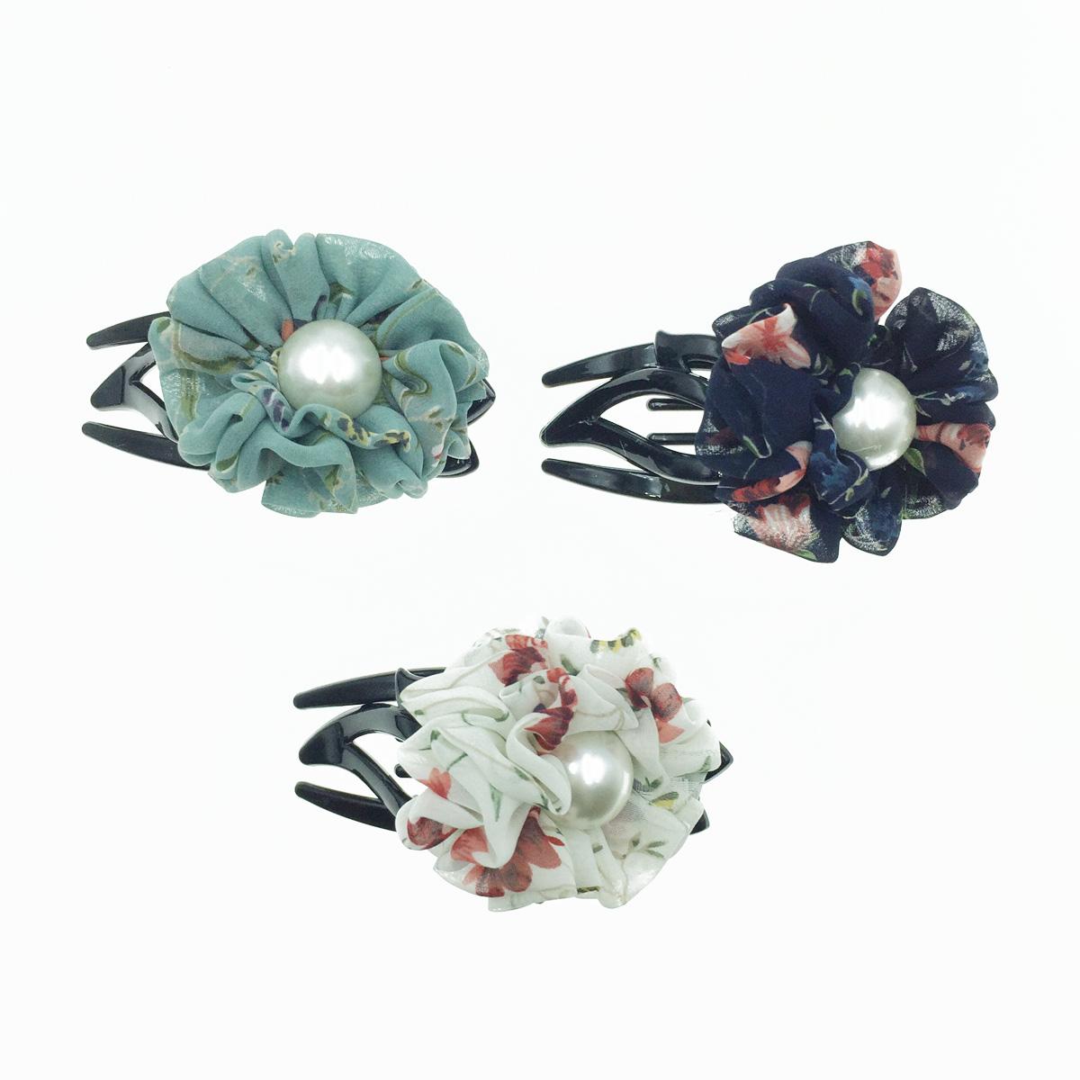 韓國 花朵 珍珠 絲質 碎花 氣質 燕尾夾
