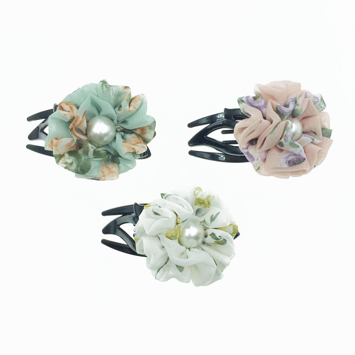 韓國 花朵 珍珠 碎花 絲質 氣質 燕尾夾
