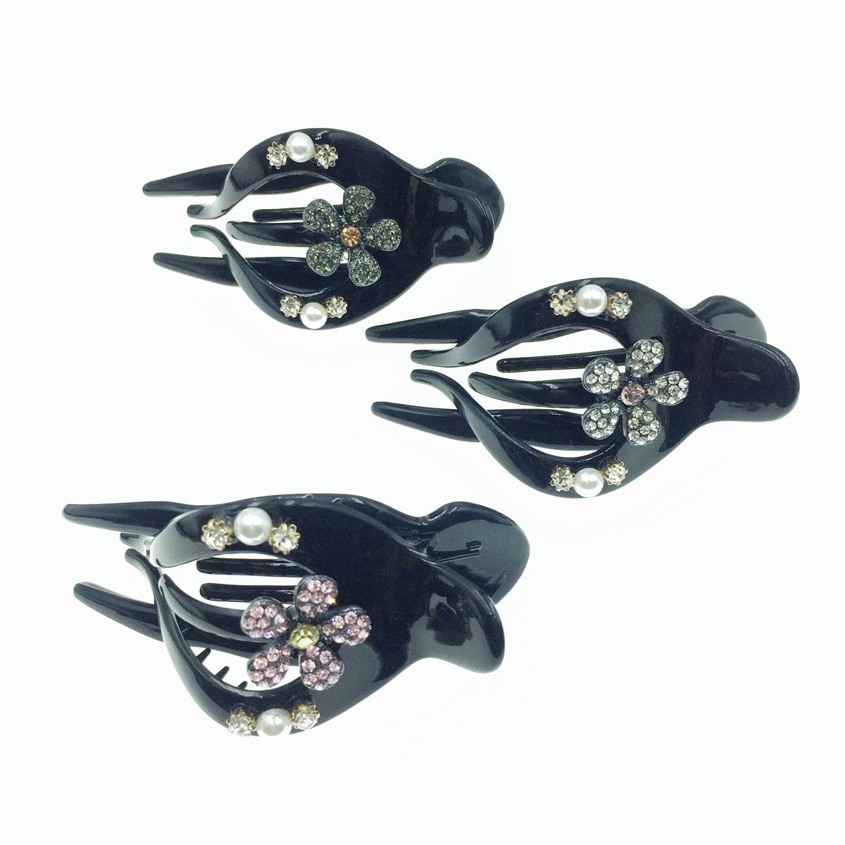 韓國 珍珠 花朵 彩色水鑽 燕尾夾 髮夾 髮飾