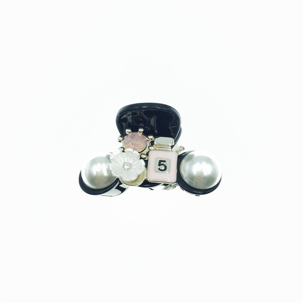 韓國 5號 粉色小香水 白花朵 小花 粉鑽 珍珠 小鯊魚夾 髮夾 髮飾