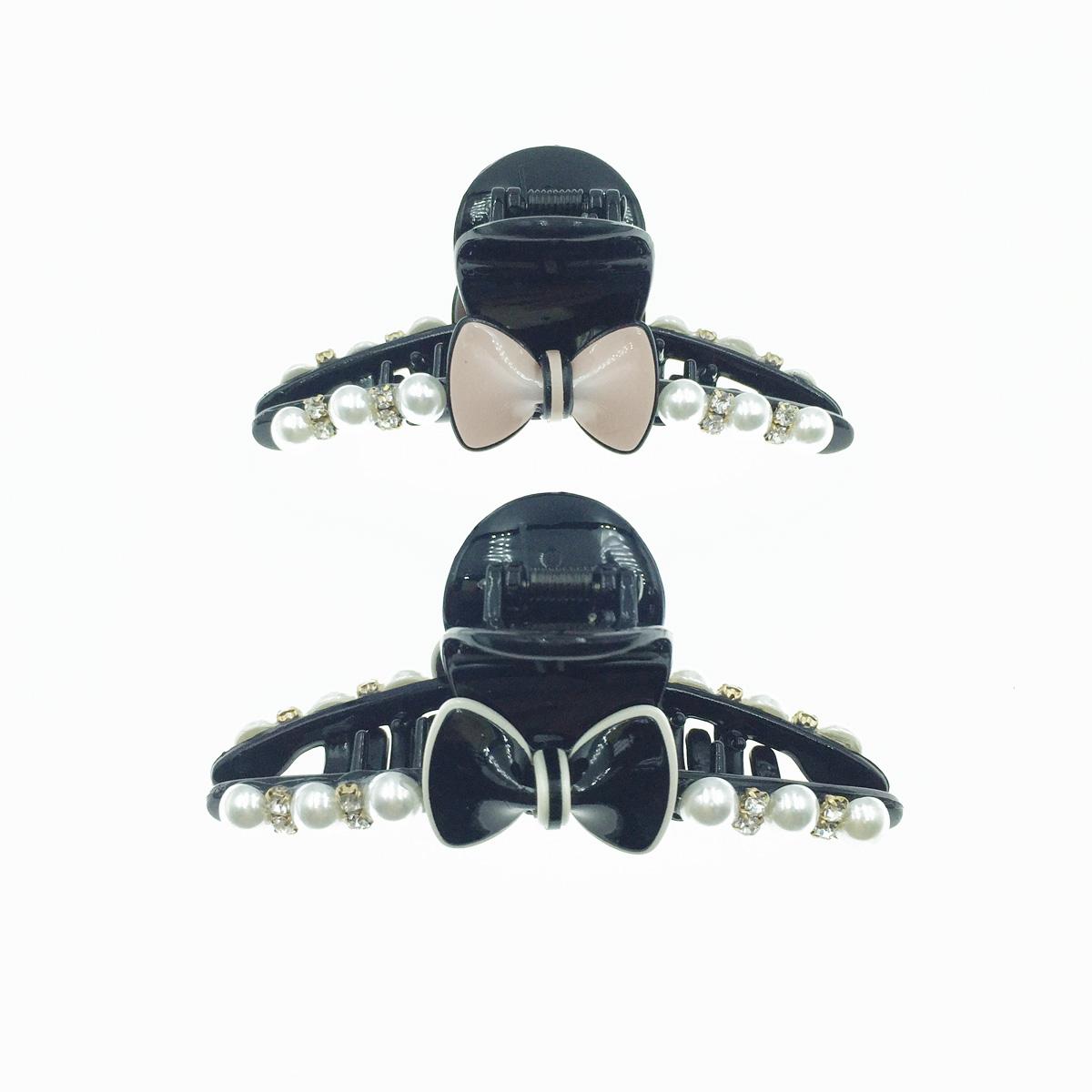 韓國 糖果蝴蝶結 珍珠 水鑽 大鯊魚夾 髮夾 髮飾