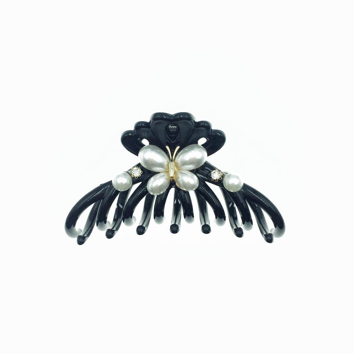 韓國 蝴蝶造型珍珠 水鑽 大鯊魚夾 髮夾 髮飾