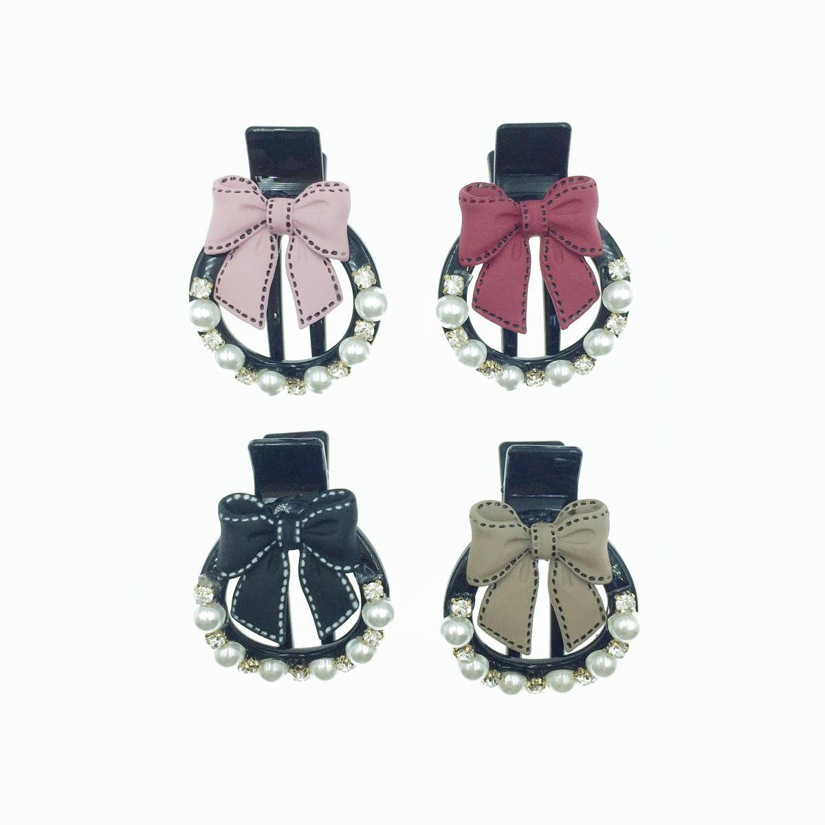 韓國 可愛蝴蝶結 緞帶 珍珠 水鑽 圓形 髮夾 髮飾