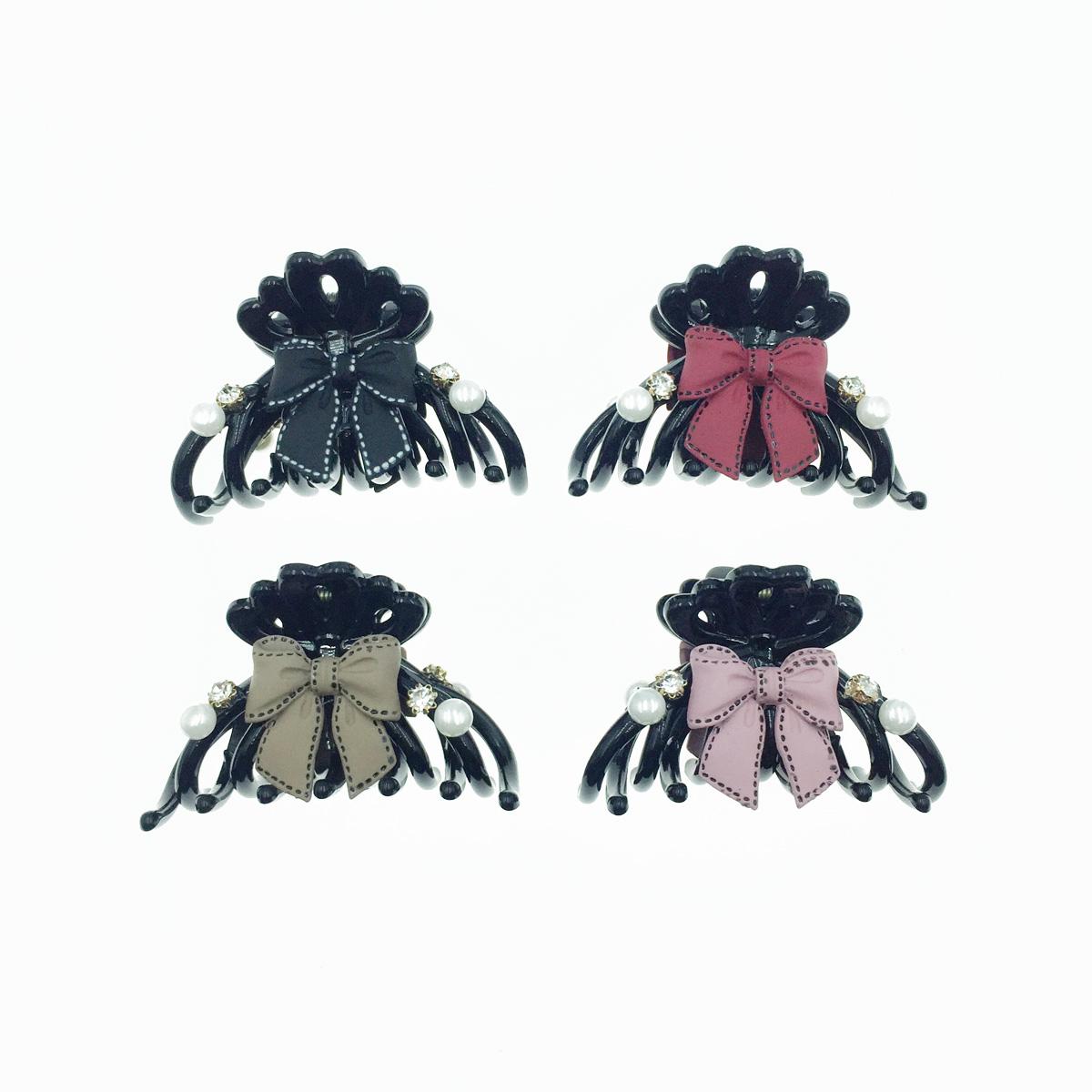 韓國 可愛彩色蝴蝶結 珍珠 水鑽  小鯊魚夾 髮夾 髮飾