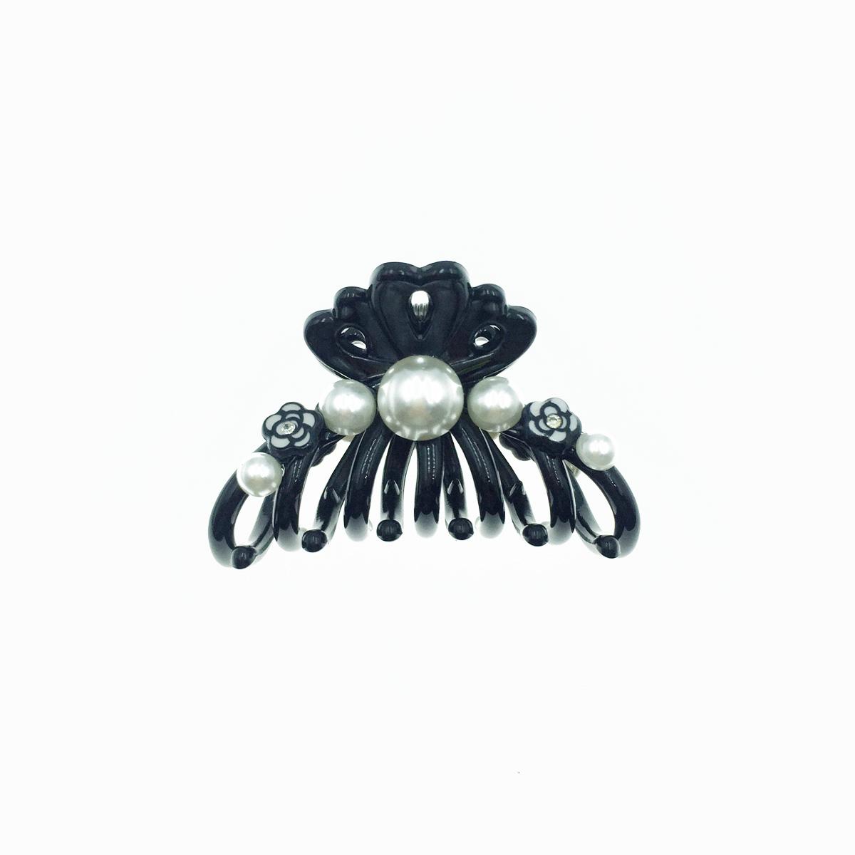韓國 珍珠 小黑花朵 花花 小鯊魚夾 髮夾 髮飾