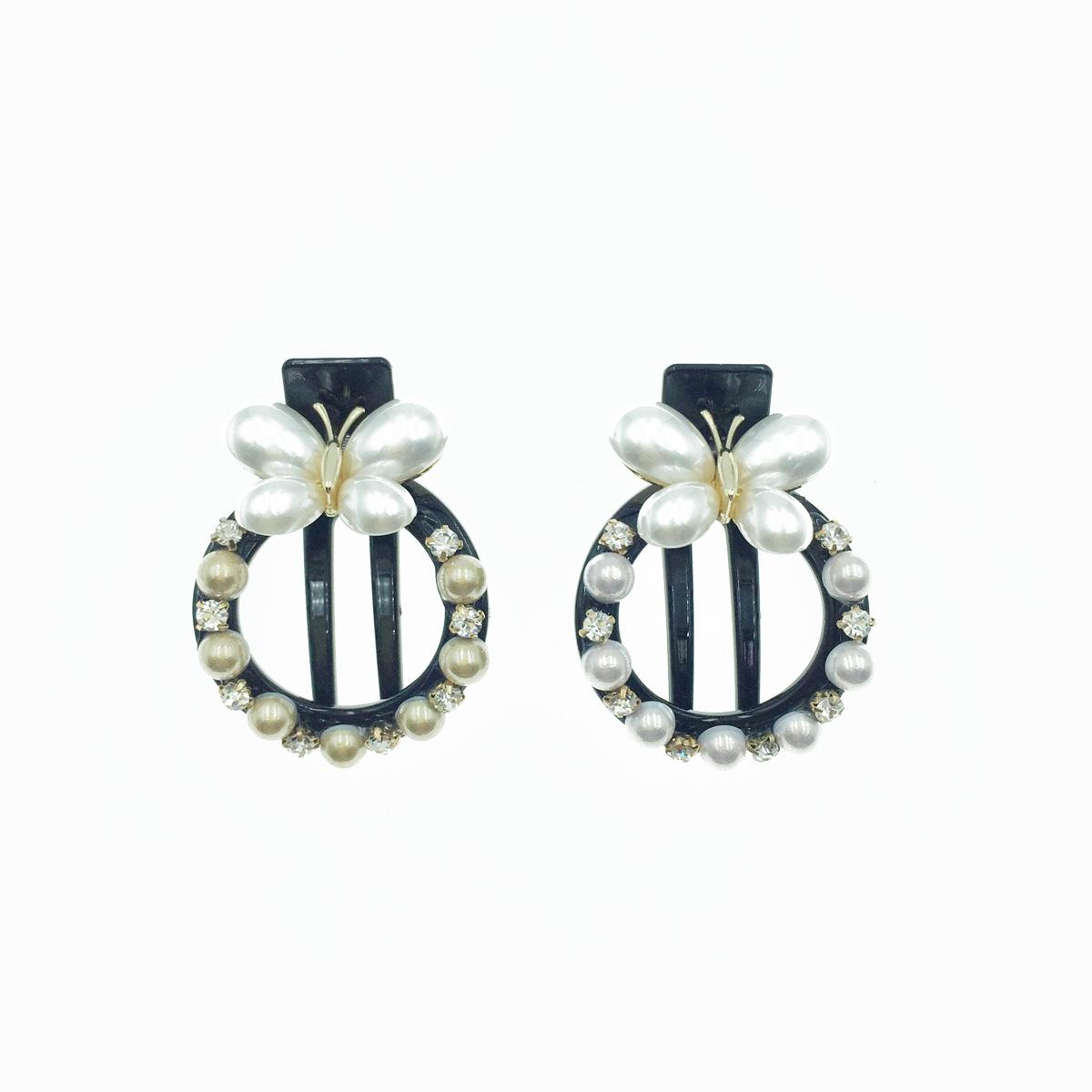 韓國 珍珠造型蝴蝶 水鑽 圓形 髮夾 髮飾