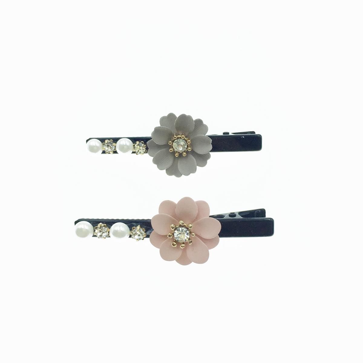 韓國 奶茶色 粉色花朵 水鑽 珍珠 氣質 髮夾 髮飾