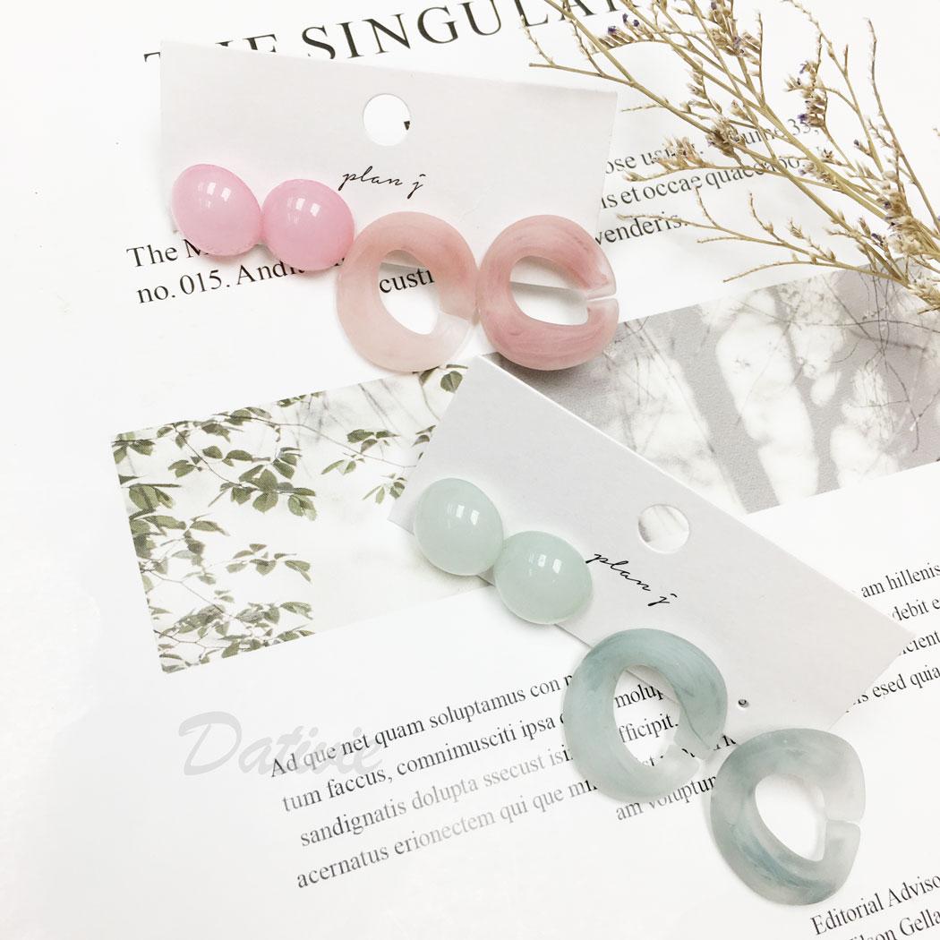 韓國 暈染 簡約 四入一組 兩色 同款二入 耳針式 耳環
