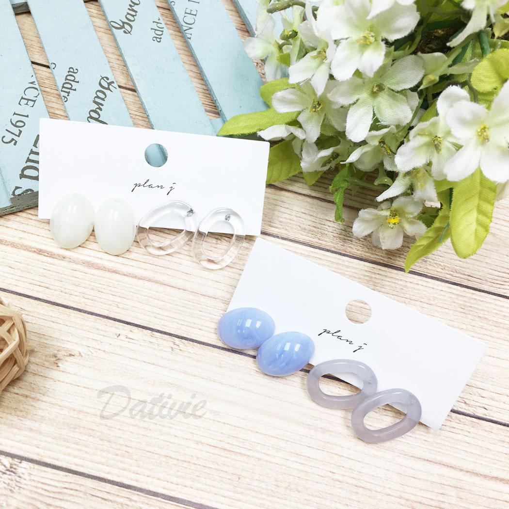 韓國 理石 暈染 簡約 四入一組 同款二入 透明 兩色 耳針式 耳環