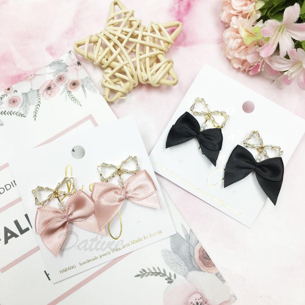 韓國 水鑽 簍空 蝴蝶結 緞帶 兩色 垂墜感 耳針式 耳環