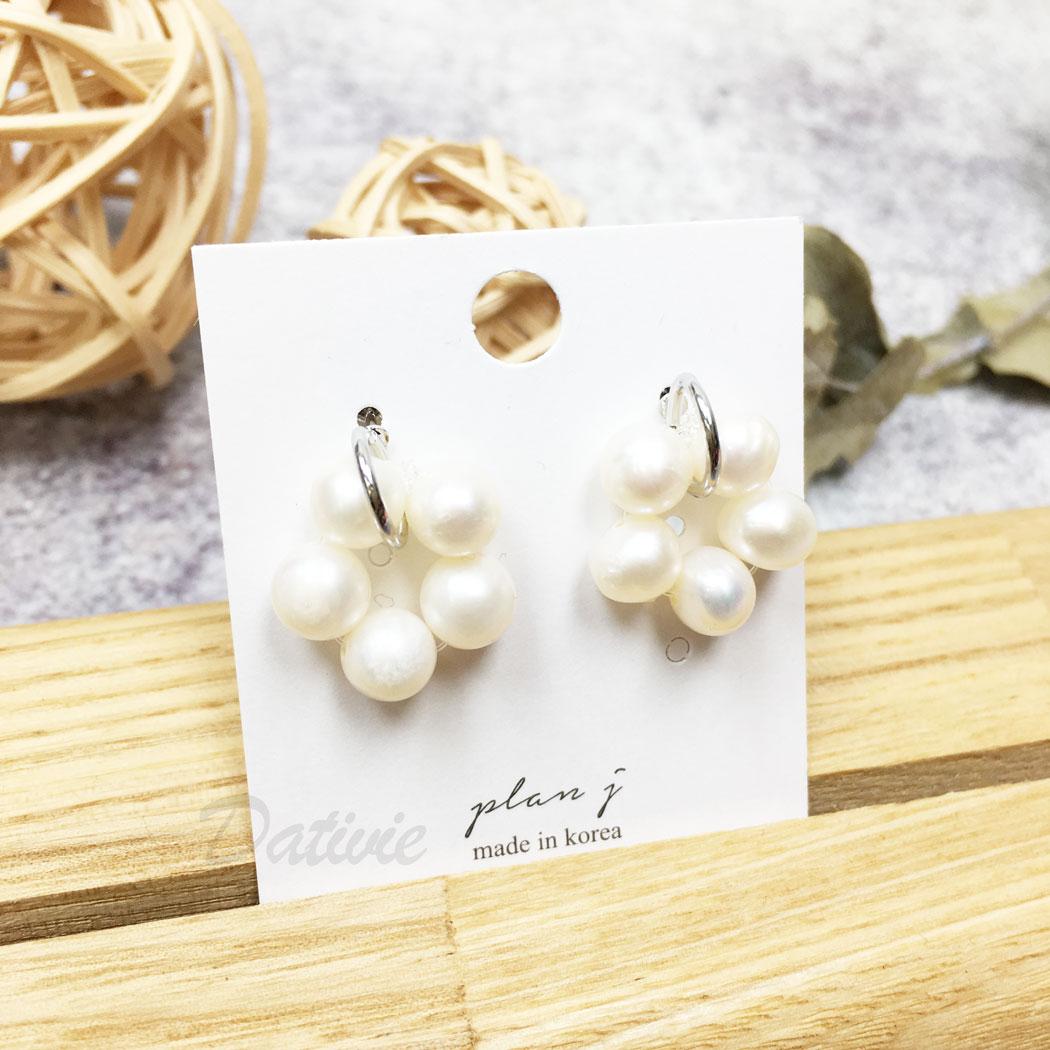 韓國 珍珠 天然珠 花 圓 垂墜感 耳針式 耳環