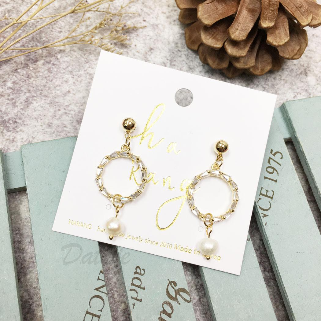韓國 天然珠 水鑽 圓 金邊 垂墜感 耳針式 耳環