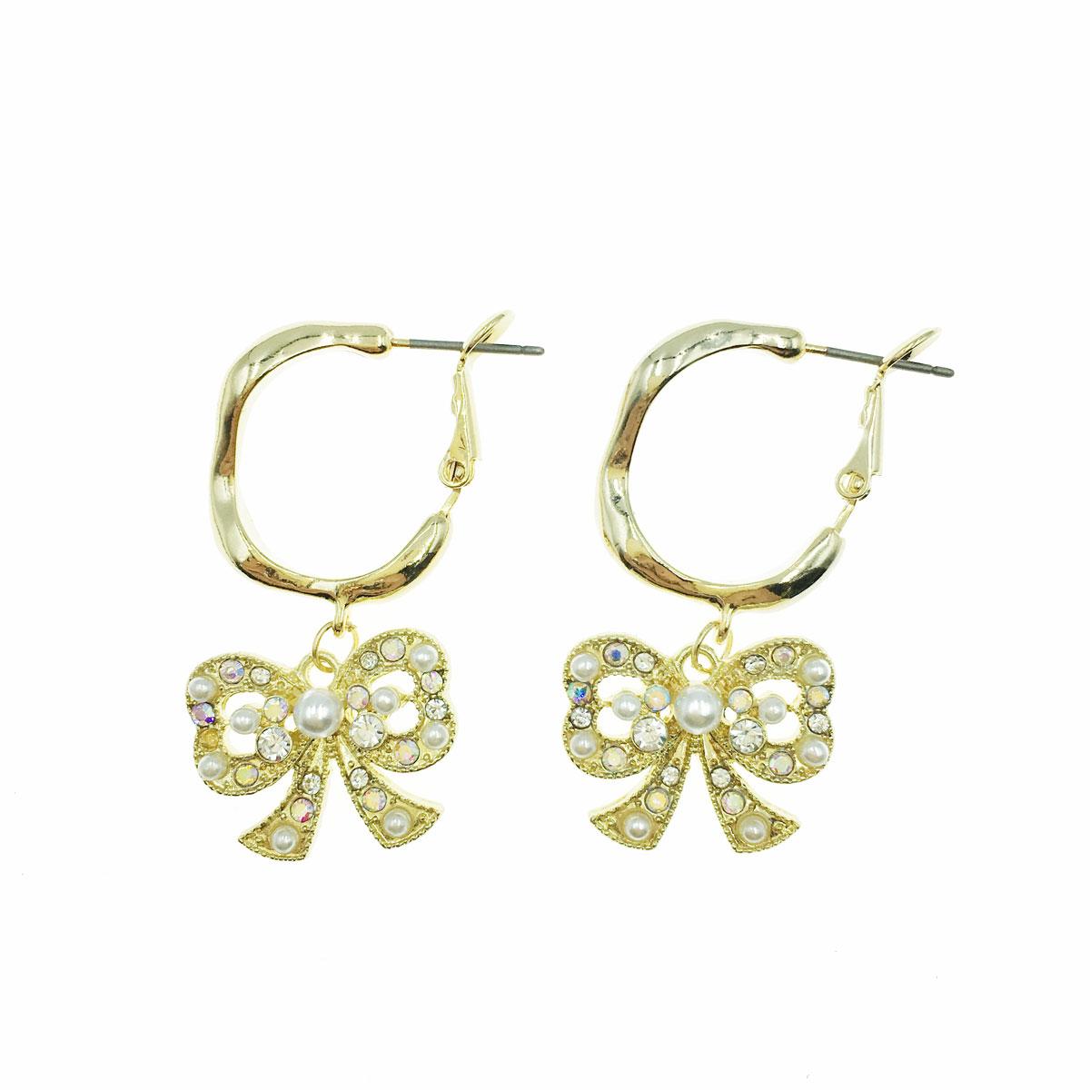 韓國 珍珠 水鑽 蝴蝶結 簍空 金邊 垂墜感 耳針式 耳環