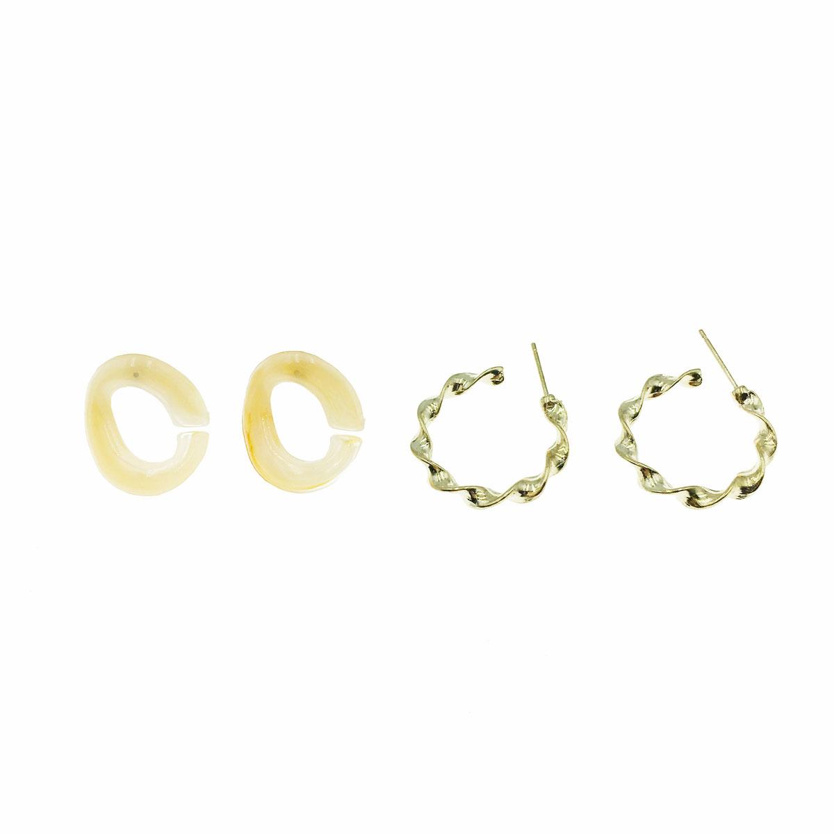 韓國 暈染 簡約 金屬 四物一組 同款二入 不對稱 耳針式 耳環