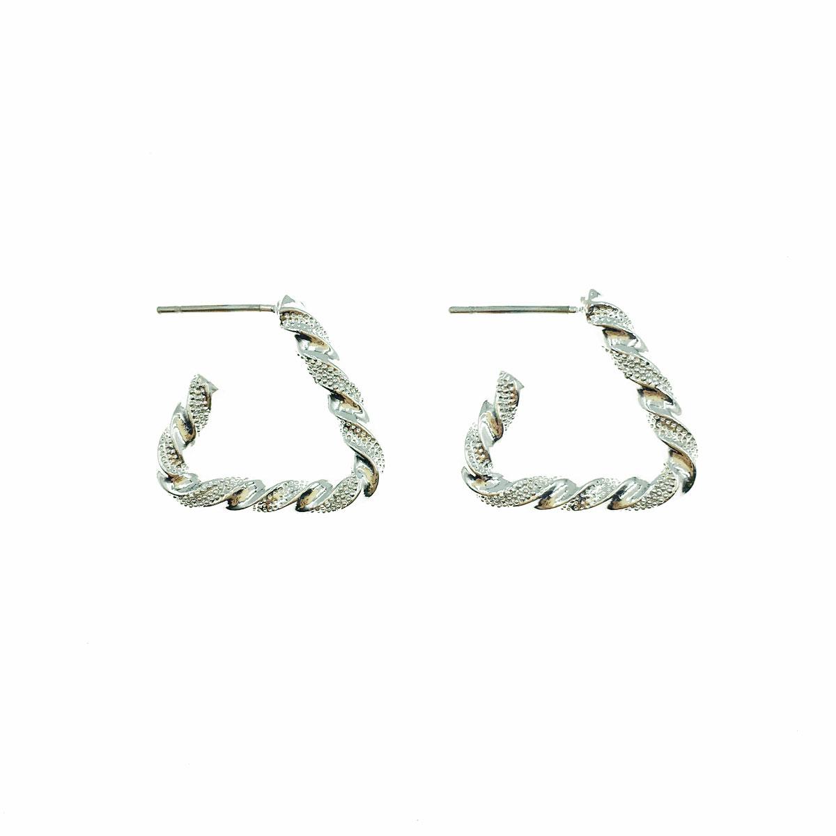 韓國 金屬 三角形 C字 簡約 耳針式 耳環