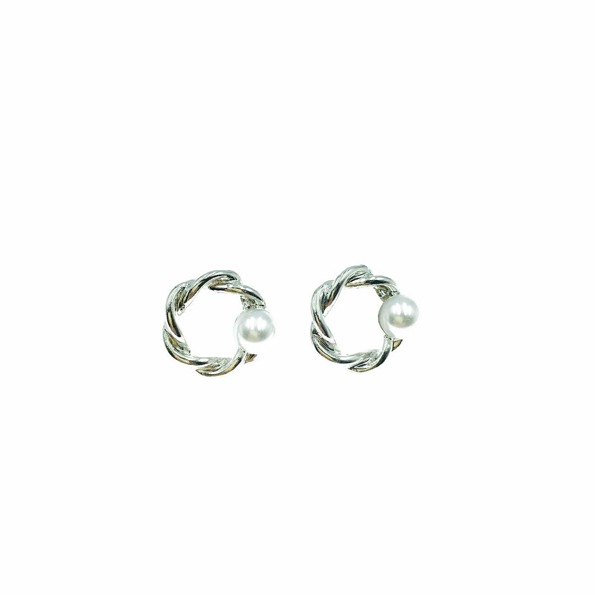 韓國 珍珠 簡約 簍空 耳針式 耳環