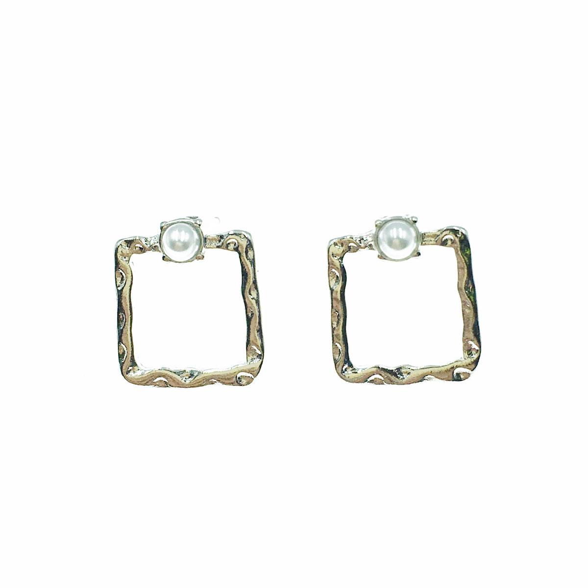 韓國 珍珠 方形 簍空 金屬 耳針式 耳環
