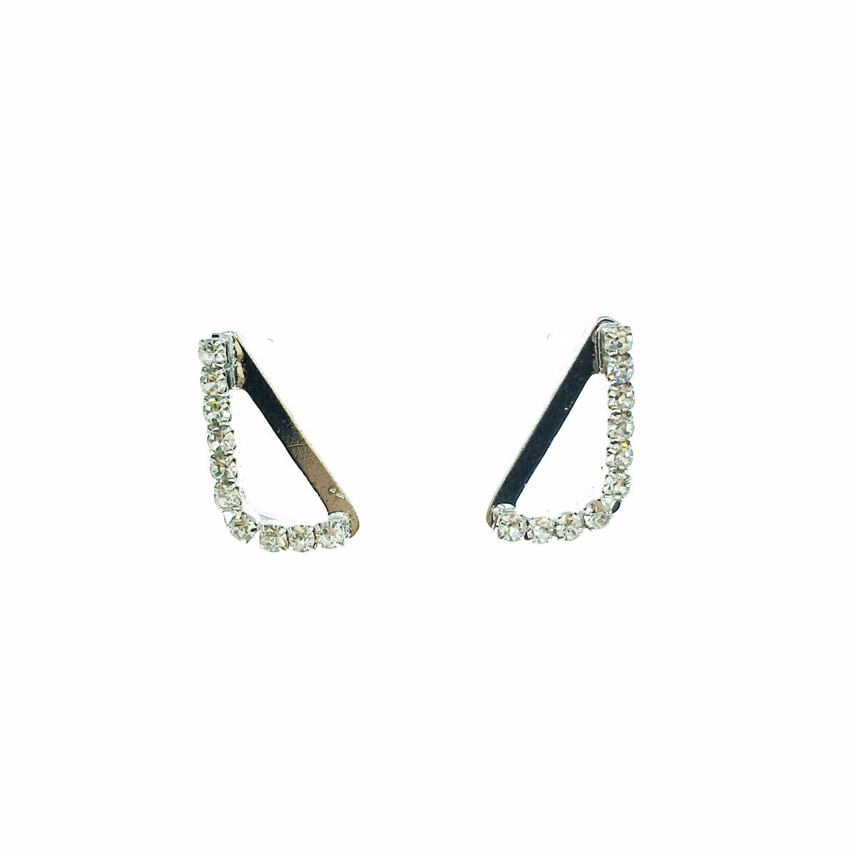 韓國 水鑽 三角形 簍空 金屬 耳針式 耳環