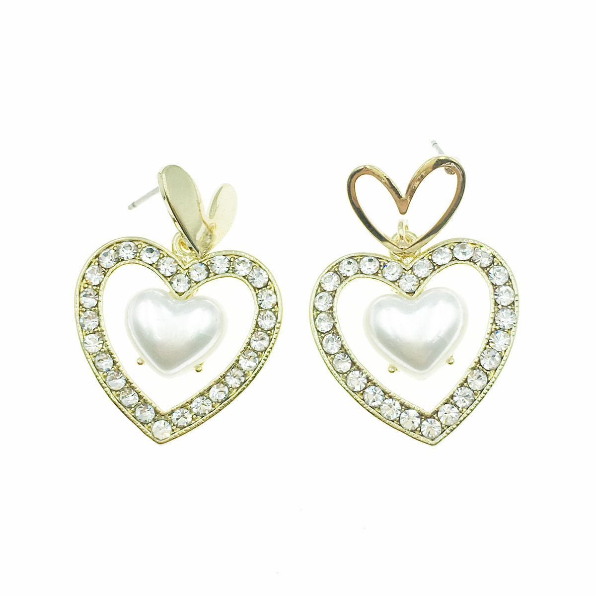 韓國 珍珠 水鑽 愛心 簍空 金邊 不對稱 垂墜感 耳針式 耳環