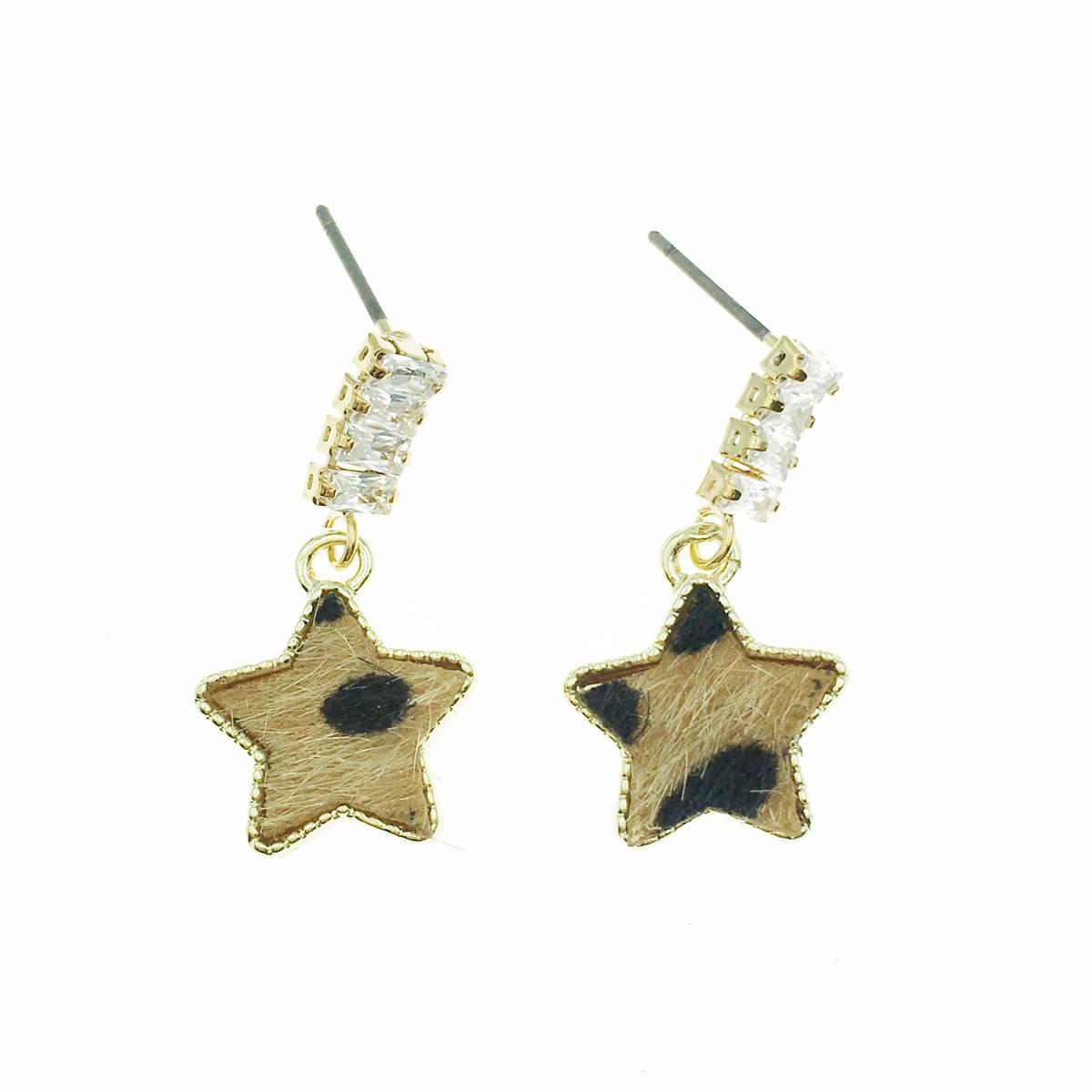 韓國 水鑽 豹紋 星星 金邊 不對稱 垂墜感 耳針式 耳環