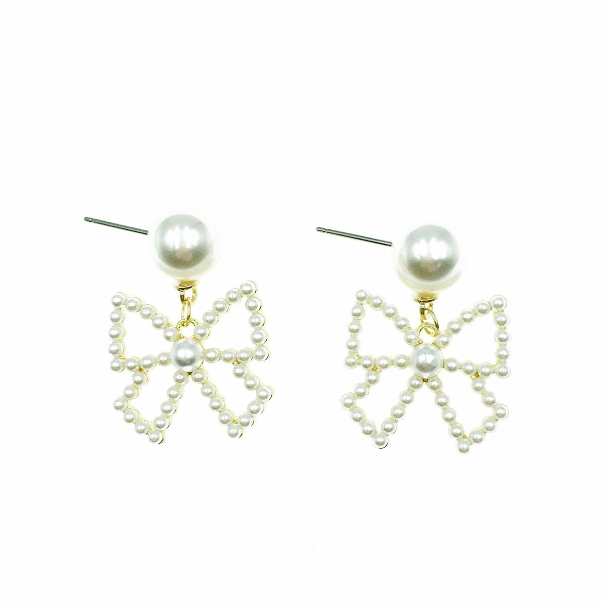 韓國 珍珠 蝴蝶結 簍空 垂墜感 耳針式 耳環