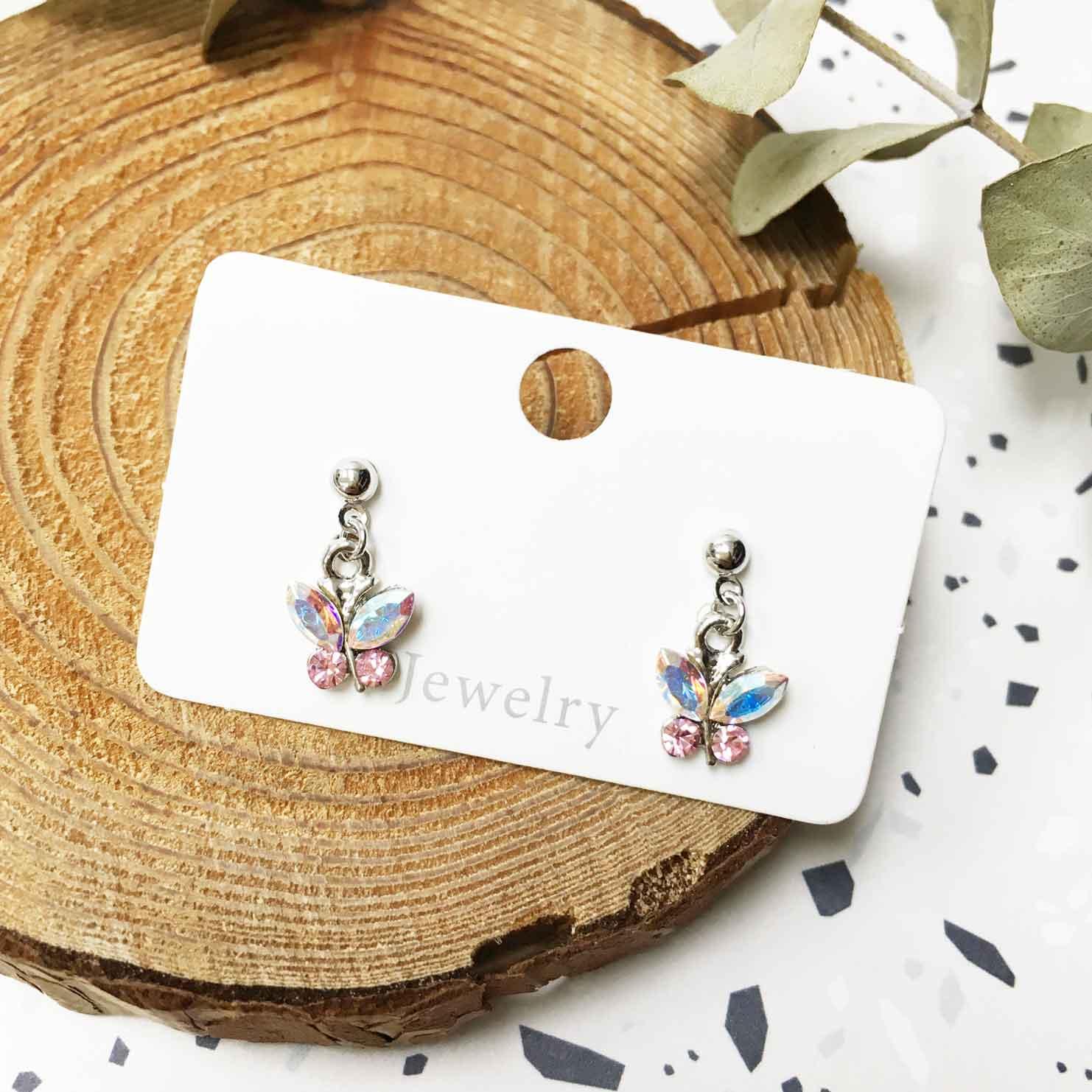 粉鑽小蝴蝶 造型水鑽 垂墜 耳針式 耳環