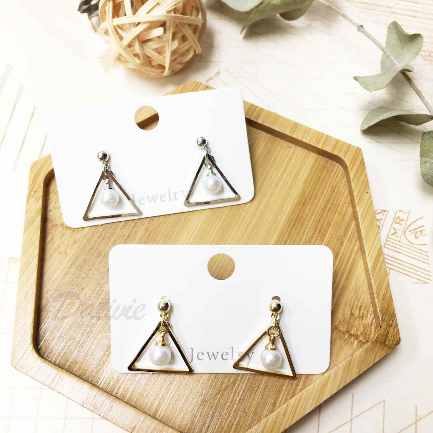 三角形 幾何 珍珠 鏤空 個性 垂墜 耳針式 耳環