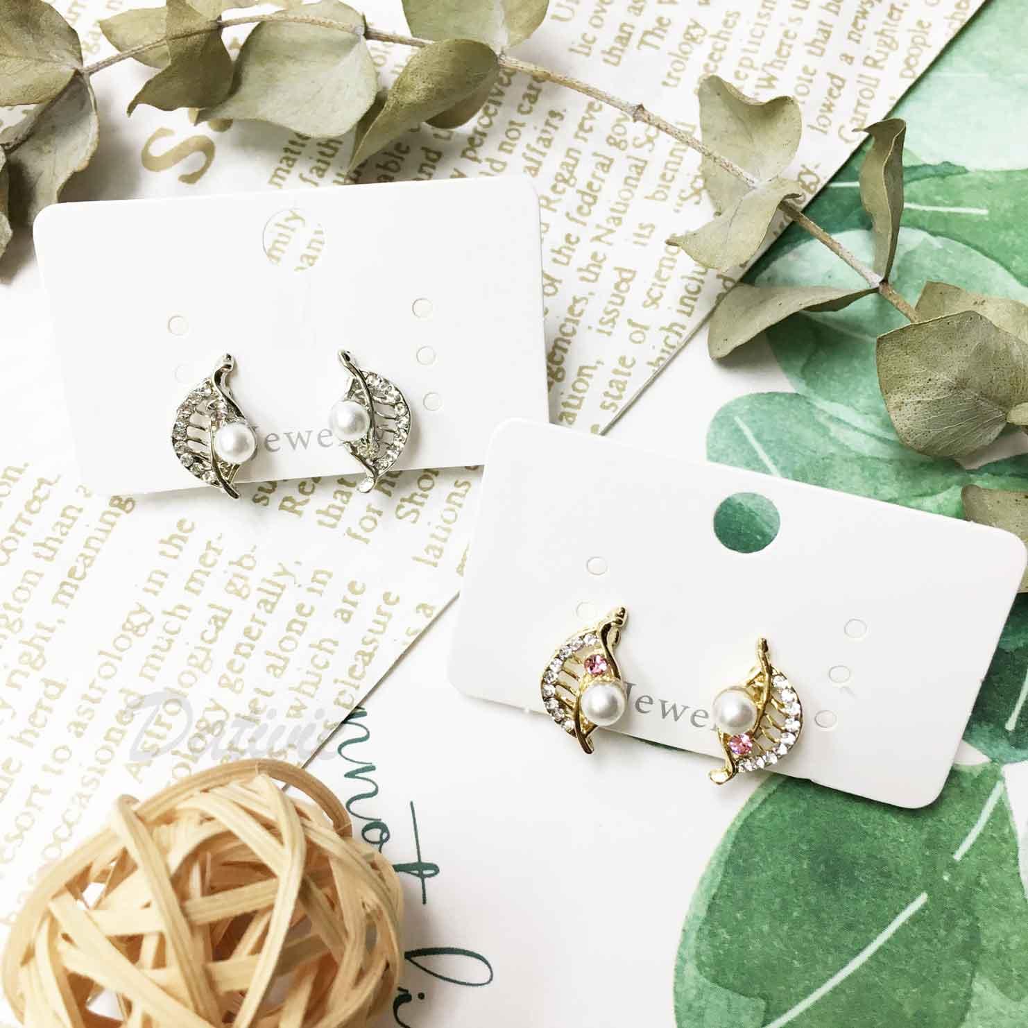 水鑽 葉子 葉片 粉鑽 珍珠 夾式耳環