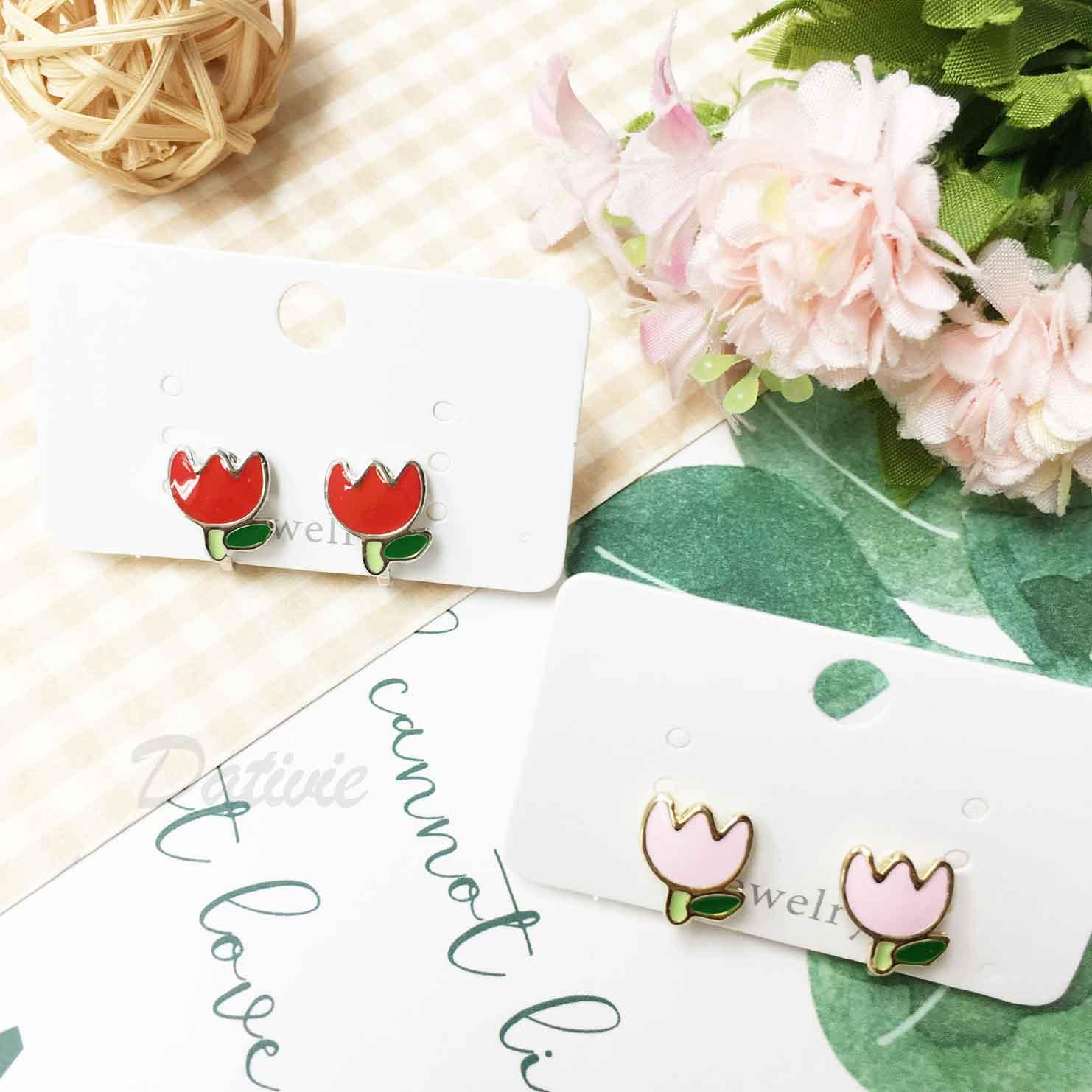 小花朵 紅花 粉花 葉子 葉片 可愛 夾式耳環