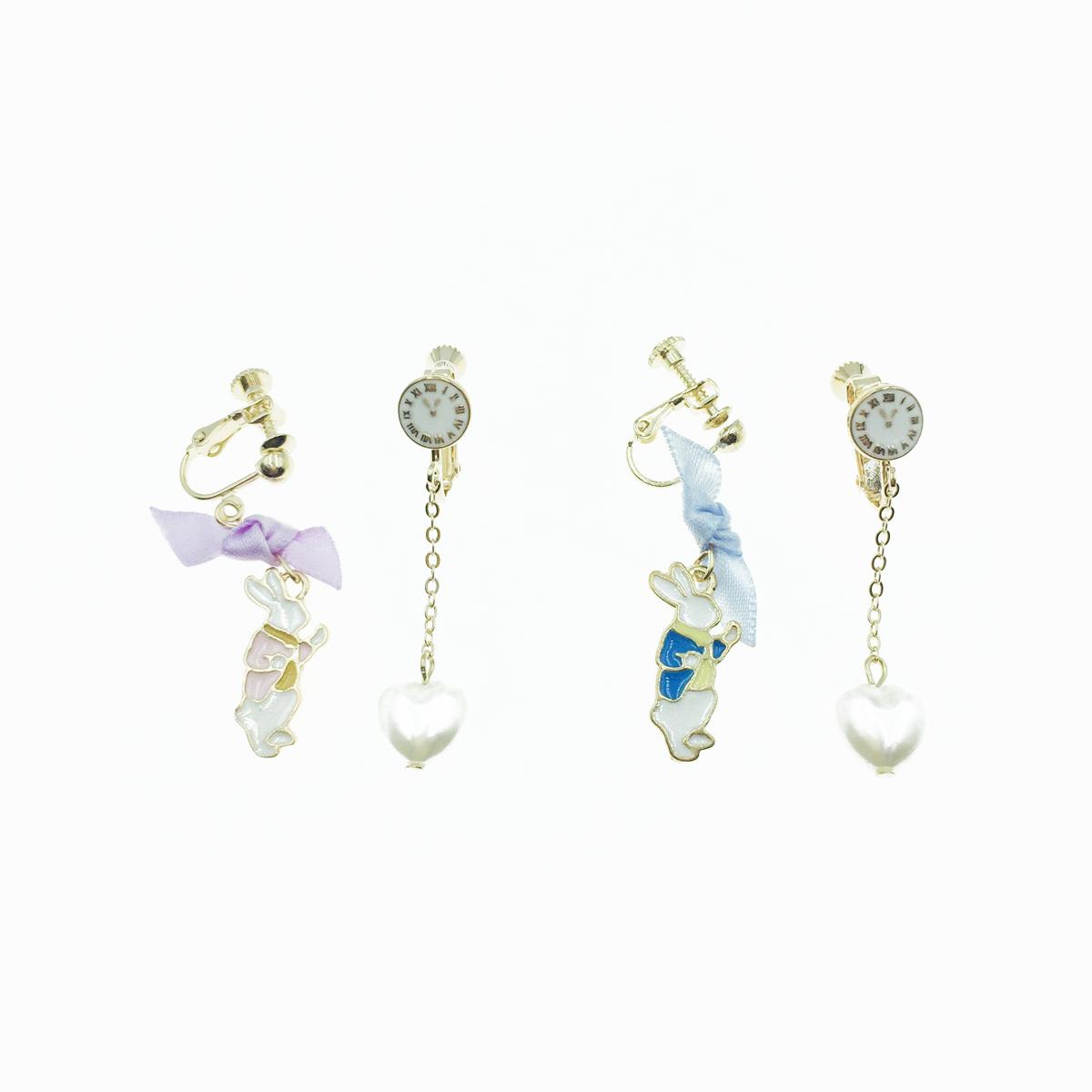 韓國 愛麗絲 時鐘兔子 扭結 蝴蝶結 愛心珍珠 垂墜 夾式耳環