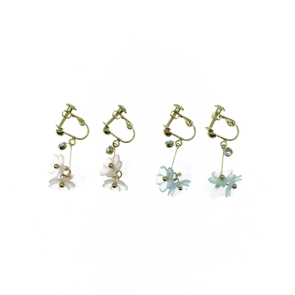 韓國 質感霧面 小花朵 花花 垂墜 水鑽 夾式耳環