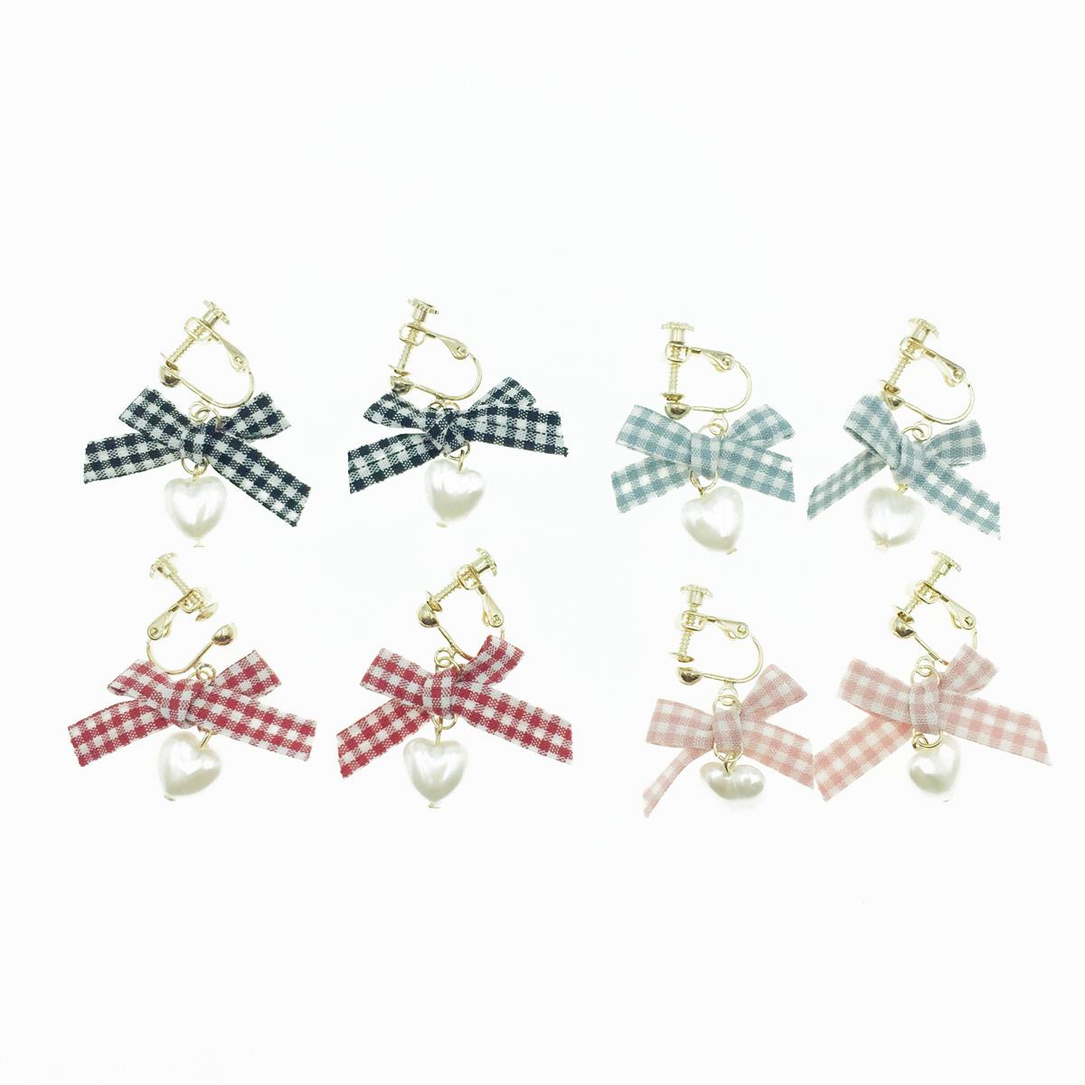 韓國 愛麗絲 格紋蝴蝶結 愛心珍珠 垂墜 夾式耳環